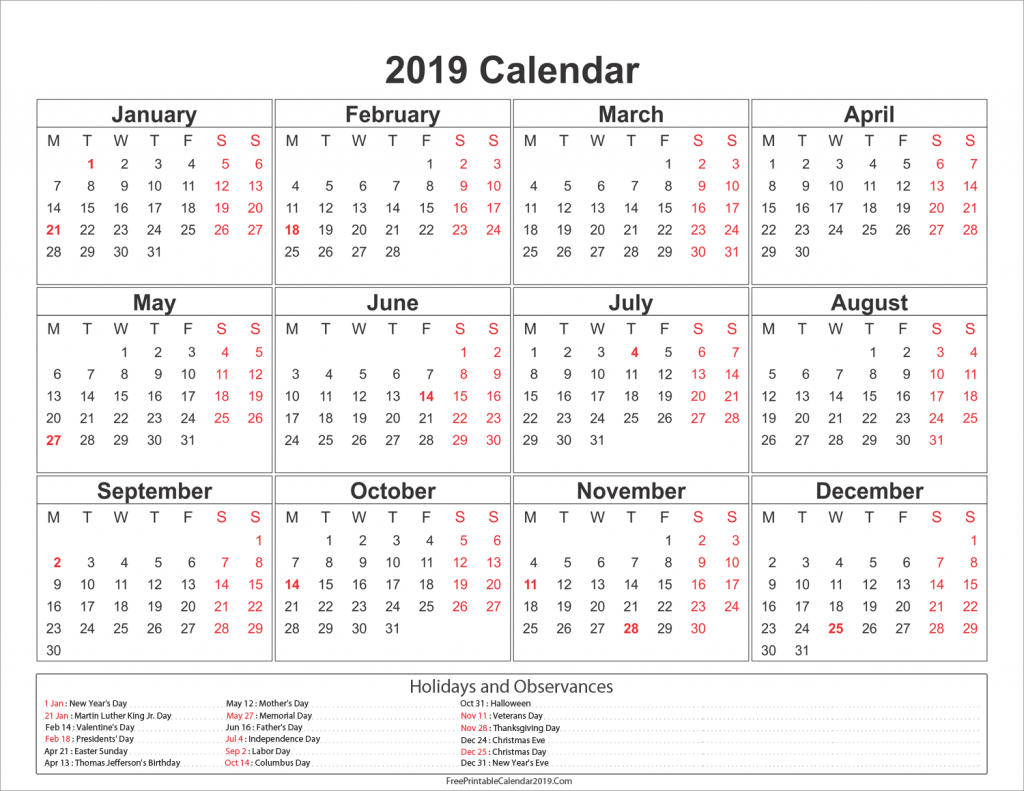 2019 Calendar With Holidays - Us, Uk, Australia, Canada - Calendar Calendar 2019 Presidents Day