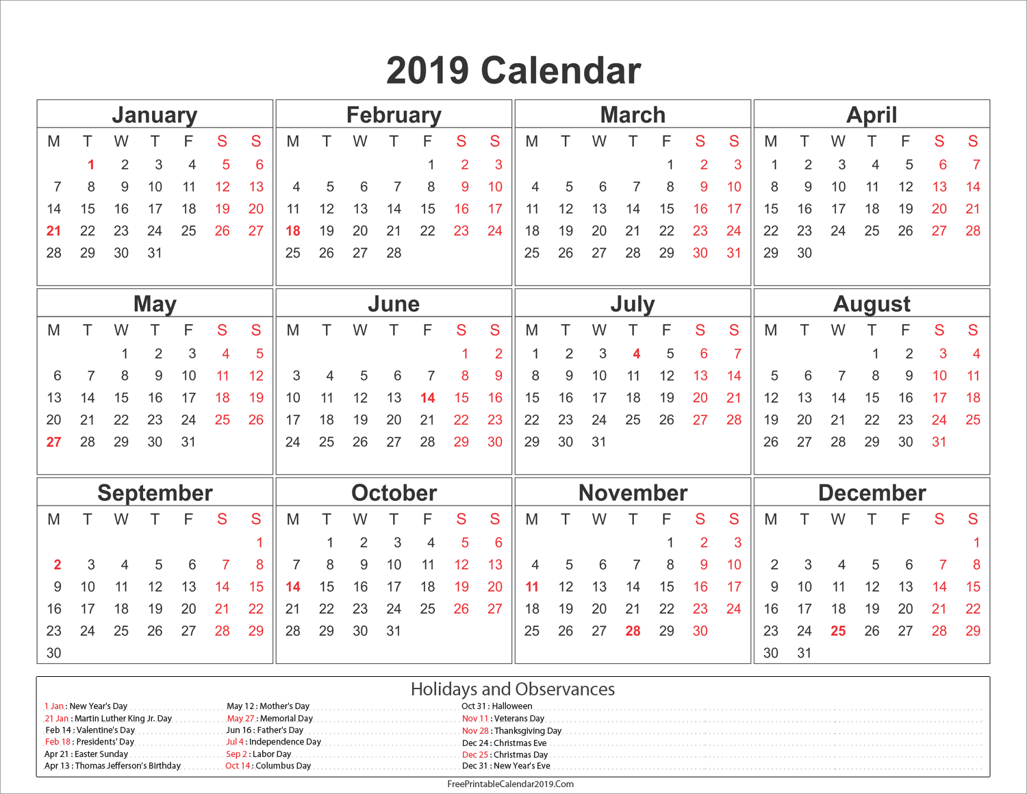 2019 Calendar With Holidays - Us, Uk, Australia, Canada - Calendar Calendar 2019 With Federal Holidays