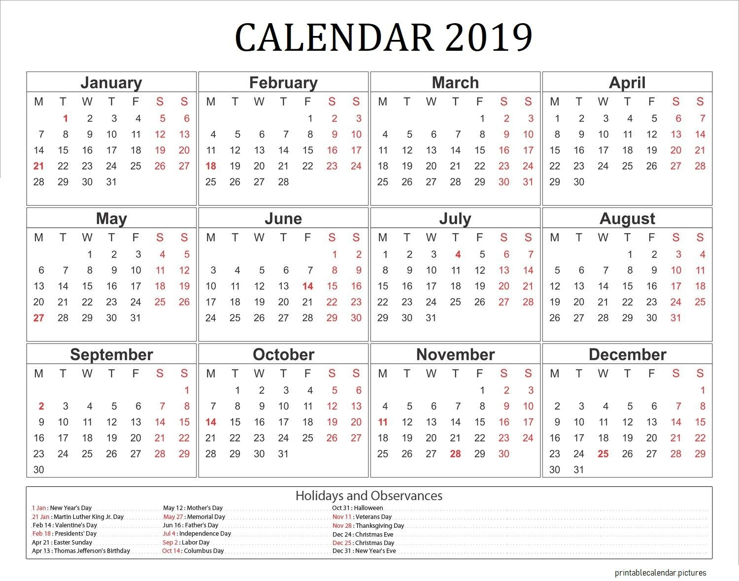2019 Calendar With Holidays Usa | 2019 Calendar Holidays | Printable Calendar 2019 Holidays Usa