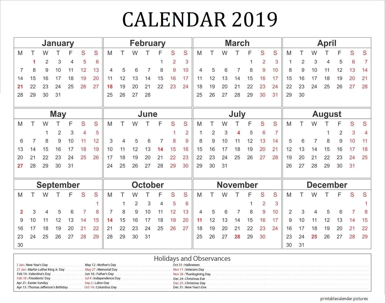 2019 Calendar With Holidays Usa   2019 Calendar Holidays   Printable Calendar 2019 Holidays Usa