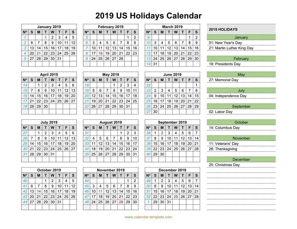 2019 Calendar With Us Holidays Calendar 2019 With Federal Holidays