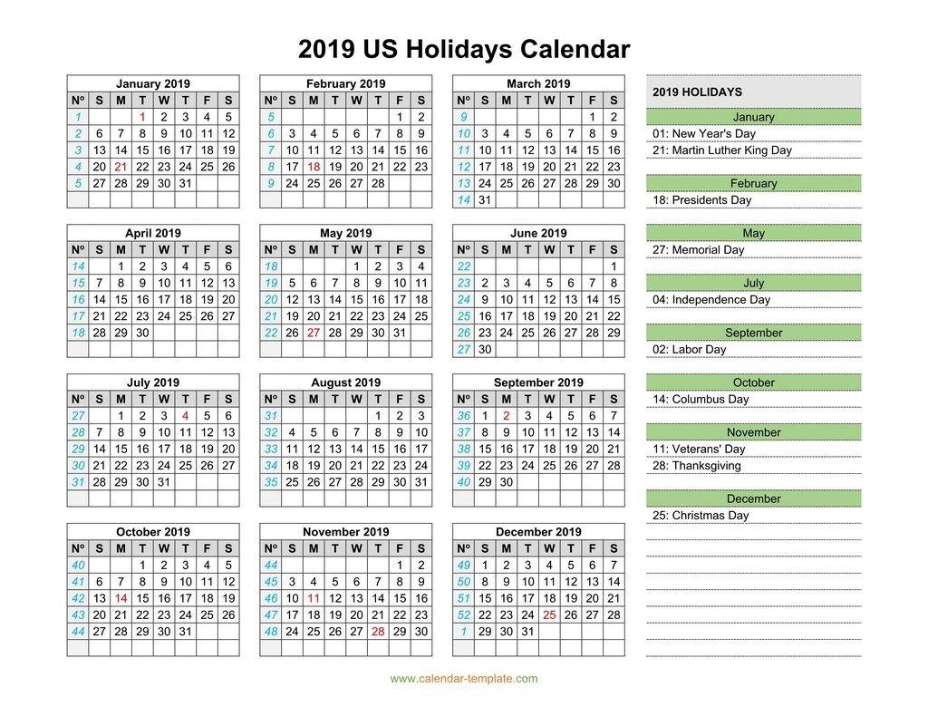 2019 Calendar With Us Holidays U.s. Calendar 2019