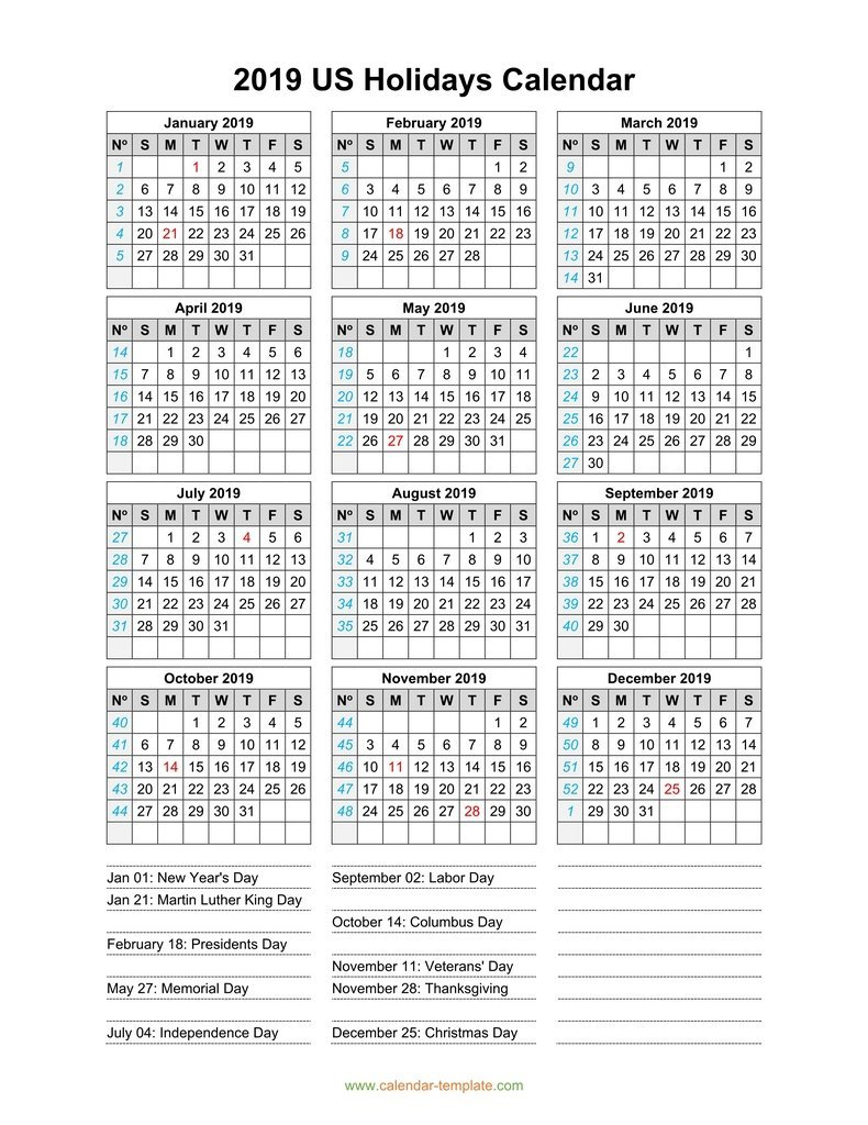 2019 Calendar With Us Holidays U.s. Holiday Calendar 2019