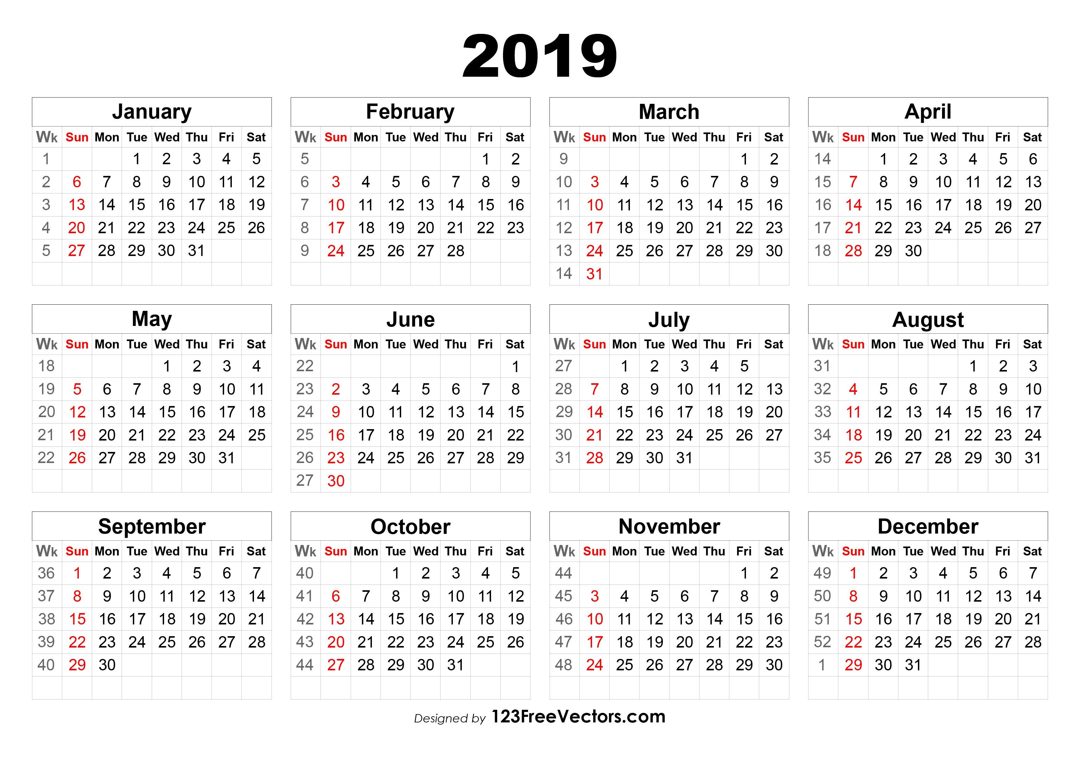 2019 Calendar With Week Numbers Calendar 2019 Week 1