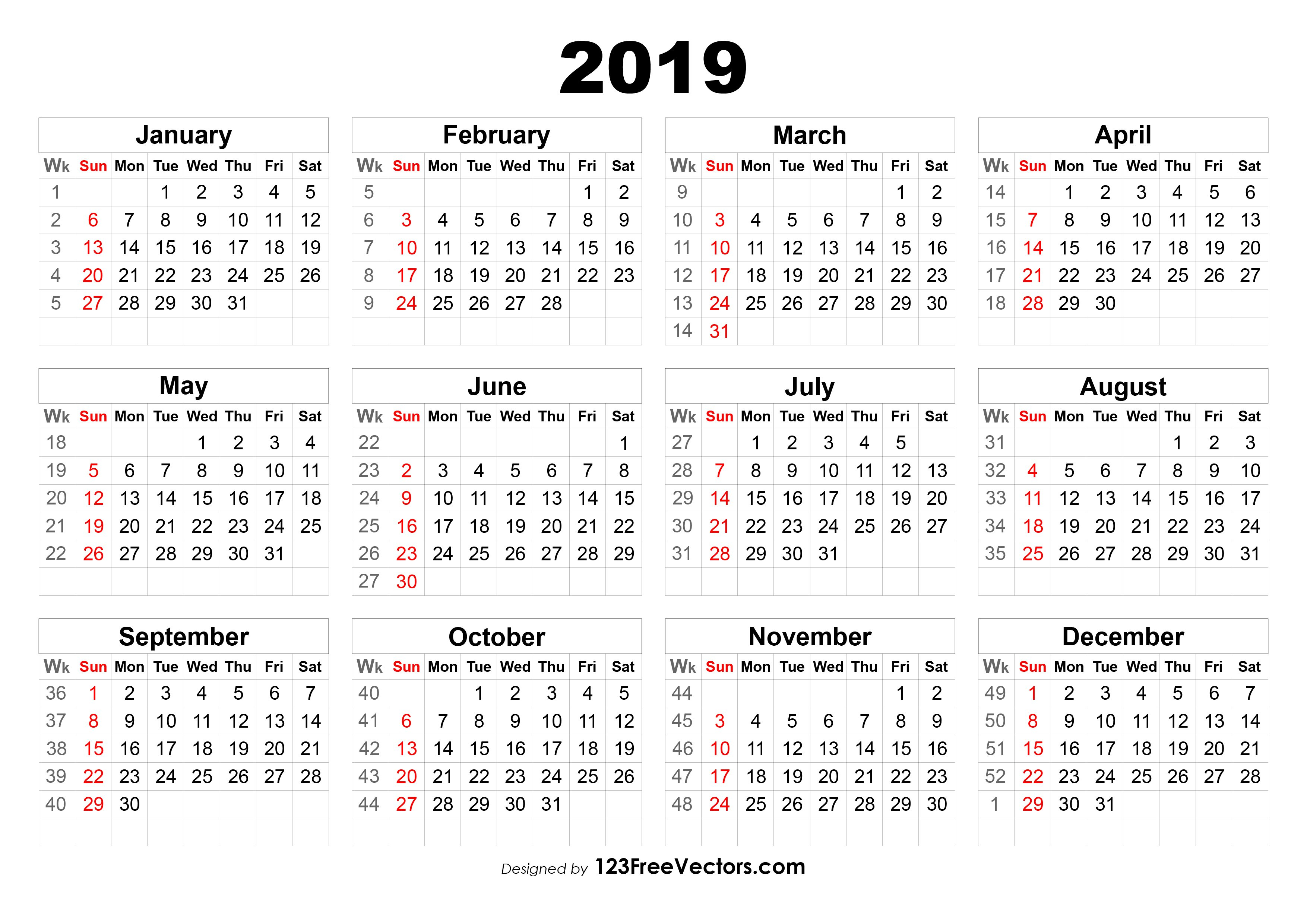2019 Calendar With Week Numbers Calendar Week 11 2019