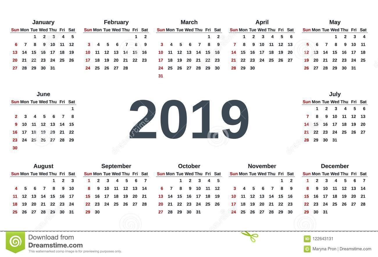 2019 Calendar Year. Vector Illustration. Template Planner. Stock Calendar Week 6 2019