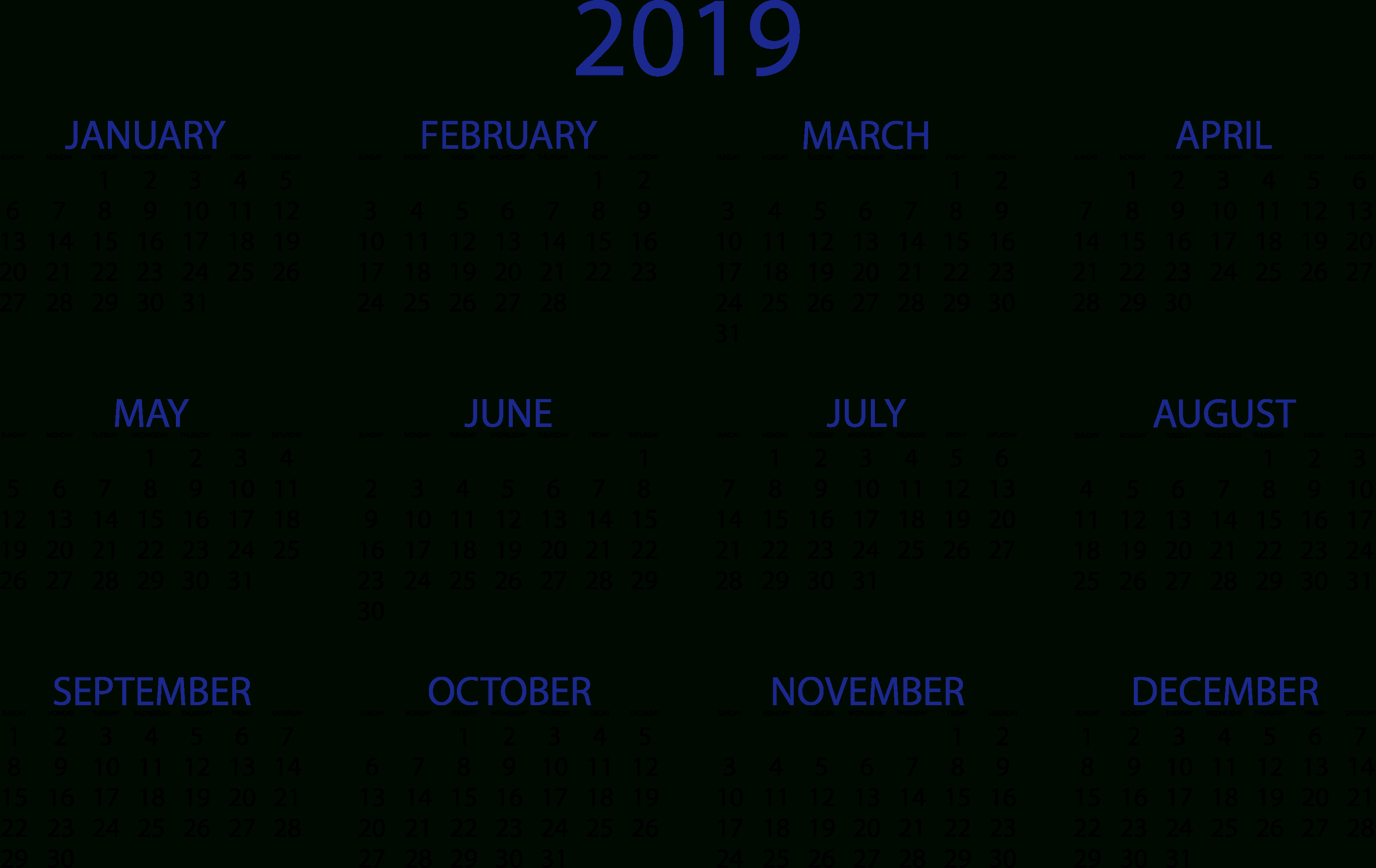 2019 Calendars Download Pdf Templates Calendar 0F 2019