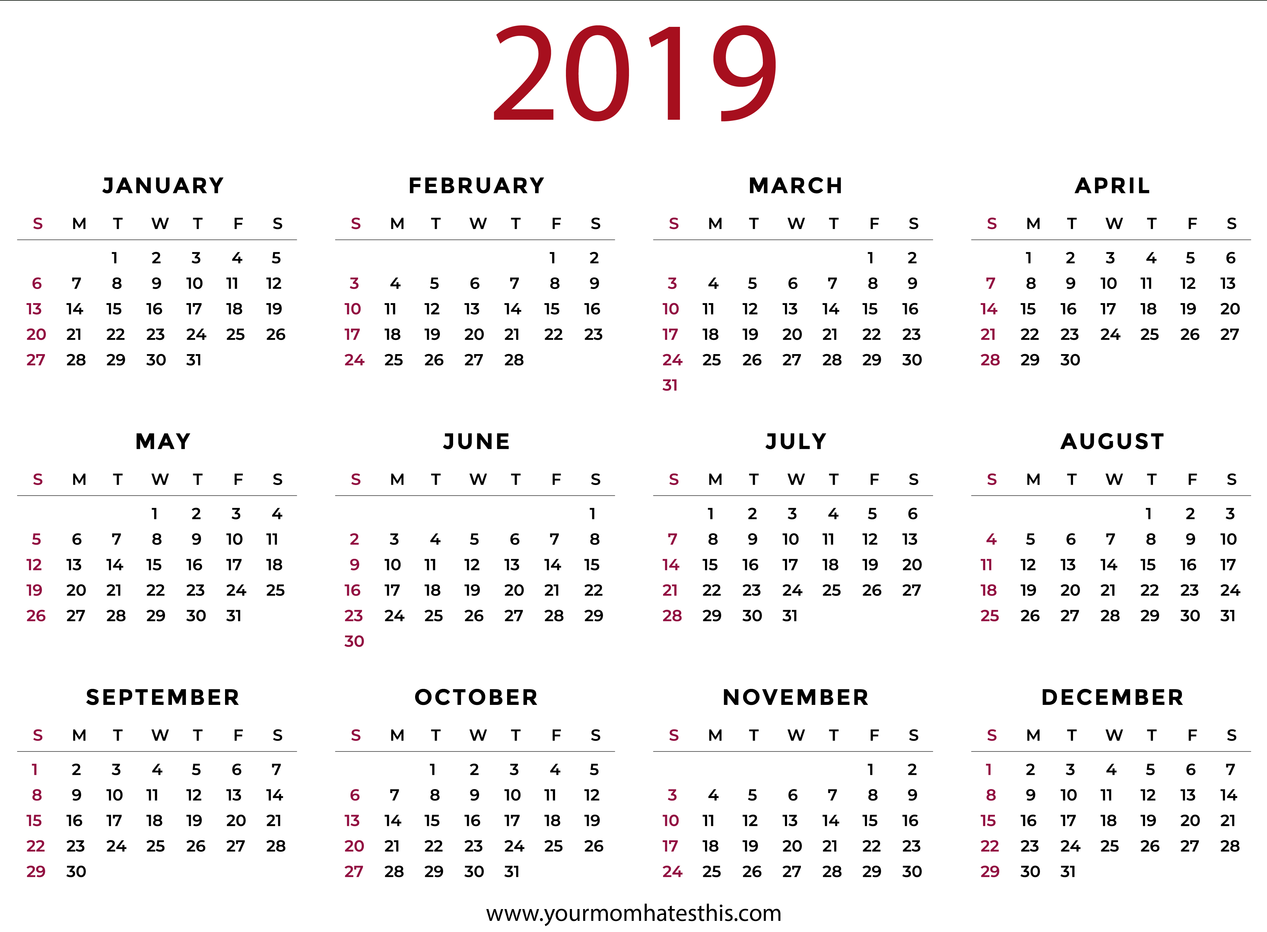 2019 Calendars Download Pdf Templates Calendar Of 2019 Pdf