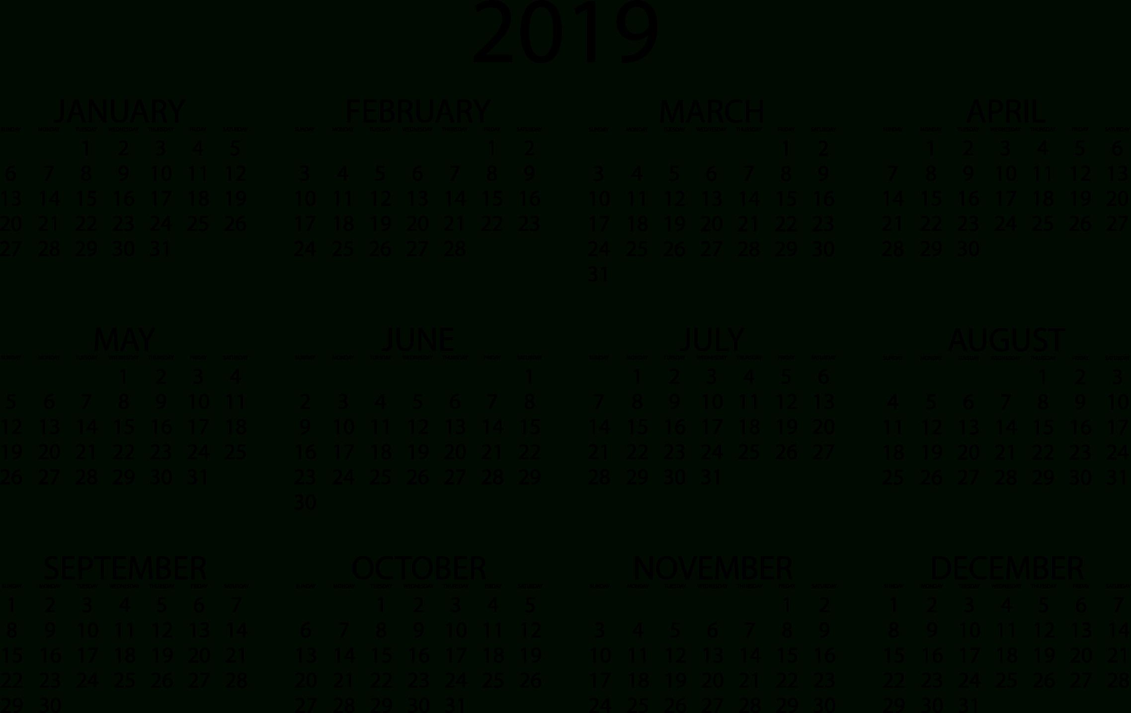 2019 Calendars – Download Printable Pdf Calendar Templates Printable 2019 Calendar