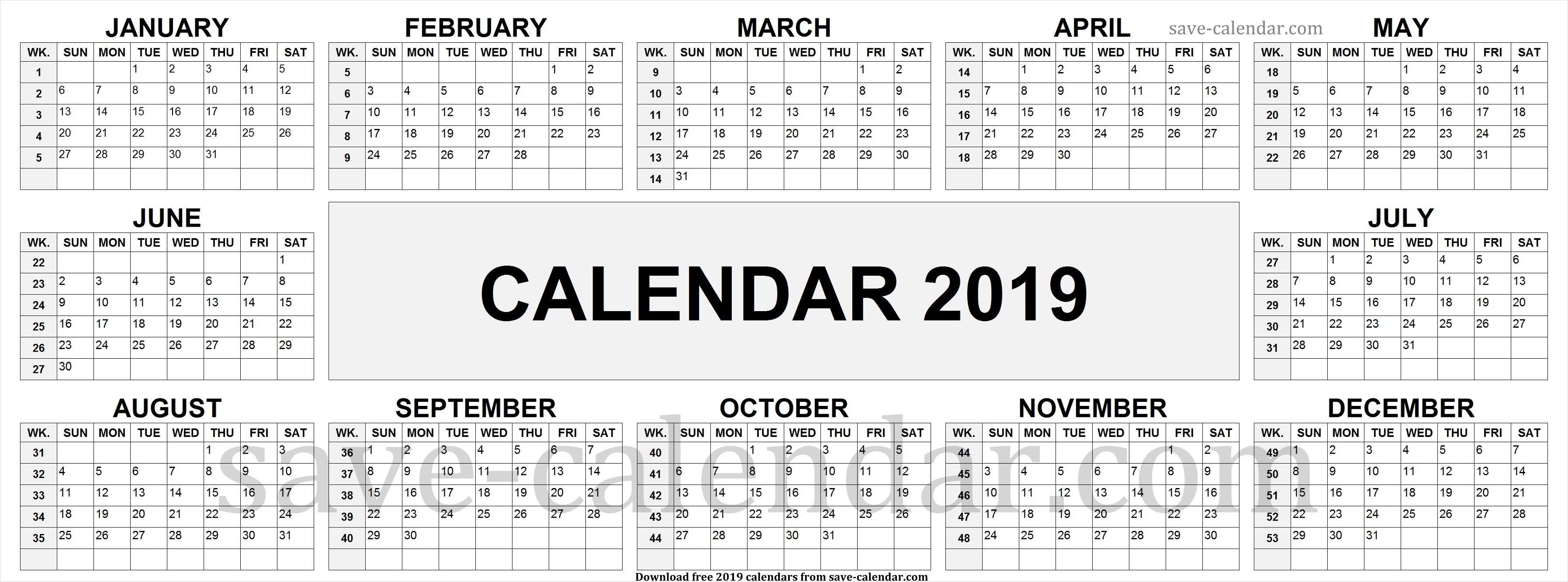 2019 Calendarweek Numbers | Calendar 2019 With Week Numbers Calendar 2019 Excel With Week Numbers