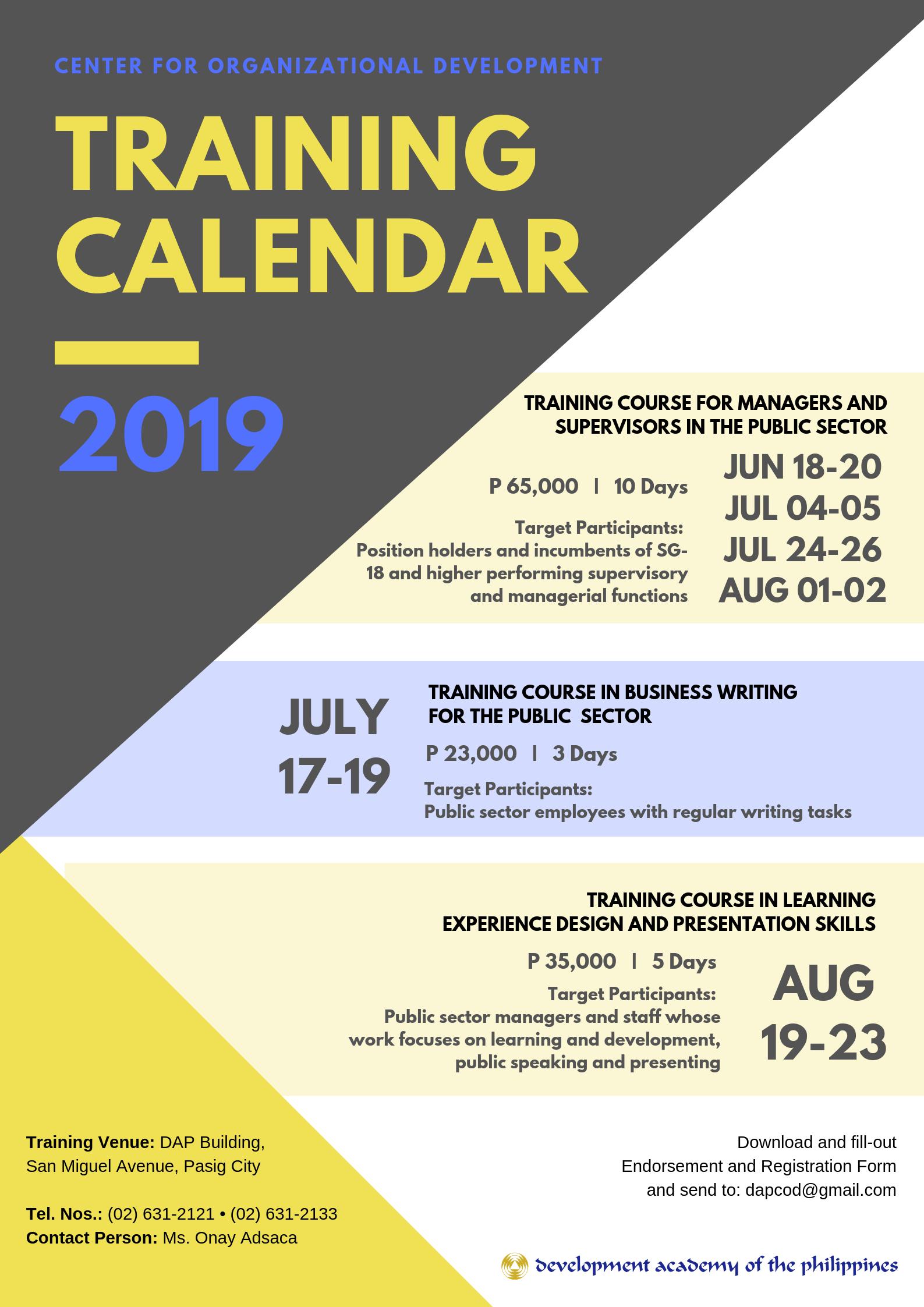 2019 Center For Organizational Development Training Calendar Calendar 2019 Target