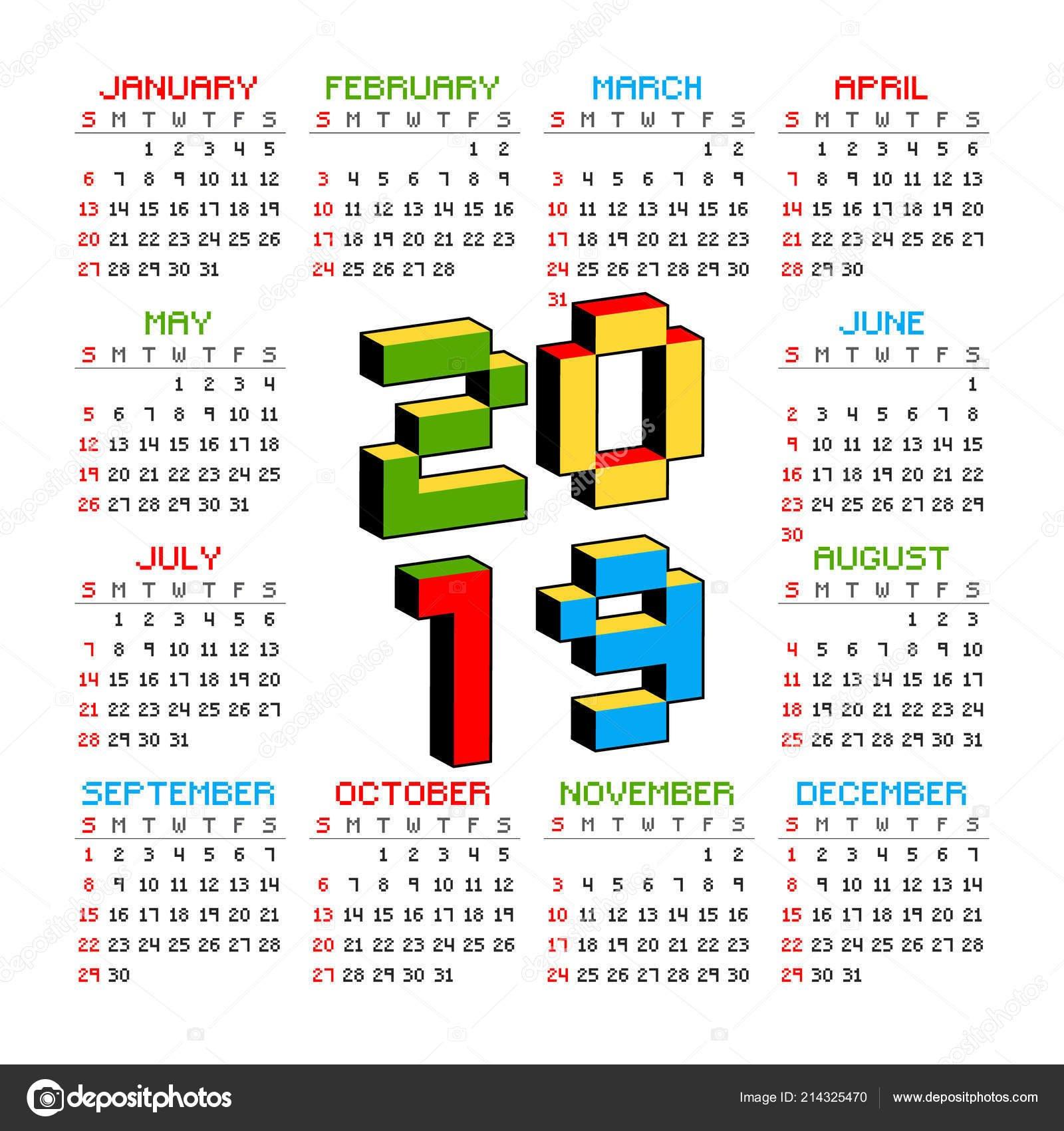 2019 Календарь На Белом Фоне В Стиле Старых 8-Битных Видео Игр Calendar En 8 2019