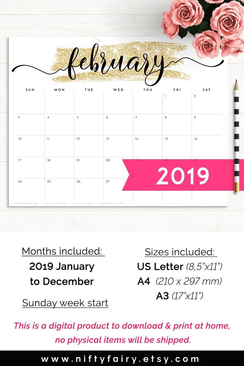 2019 Desk Calendar Monthly Planner 2019 A3 Desk Planner | Etsy Calendar 2019 Officemax