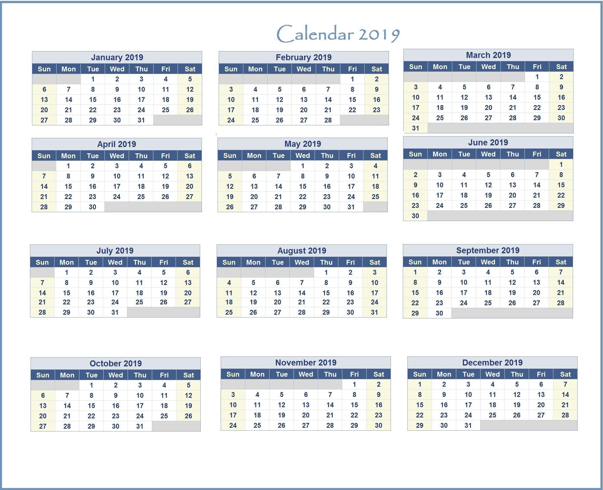 2019 Excel Calendar | Monthly Calendar Templates | Excel Calendar Calendar 2019 In Excel