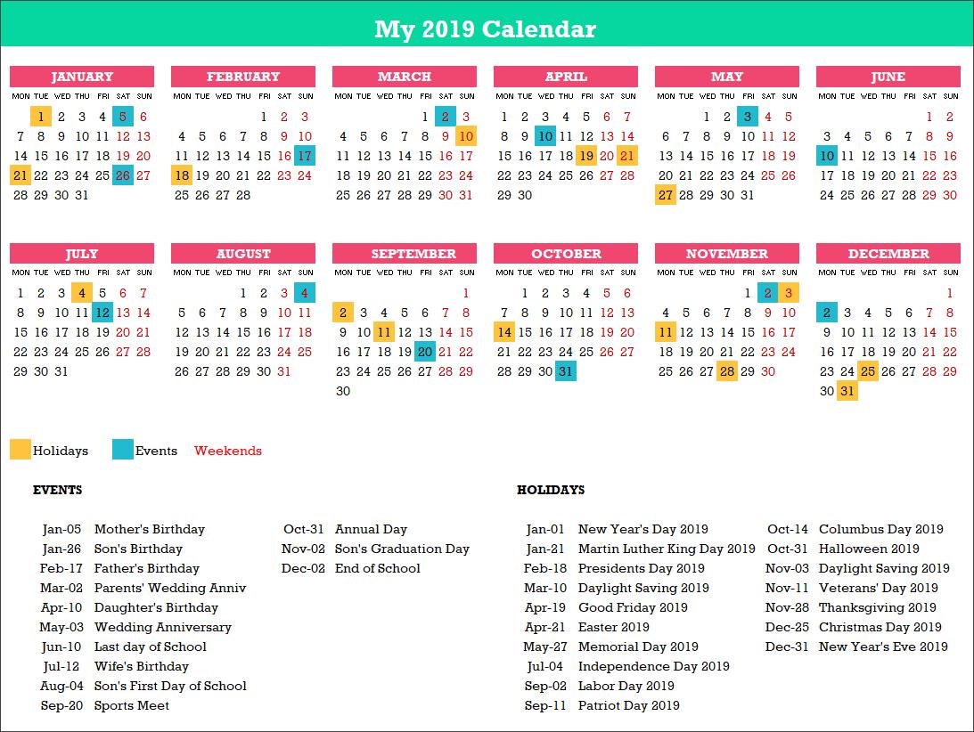 2019 Excel Calendar Template - Free - 19 Calendar Designs Calendar X 2019