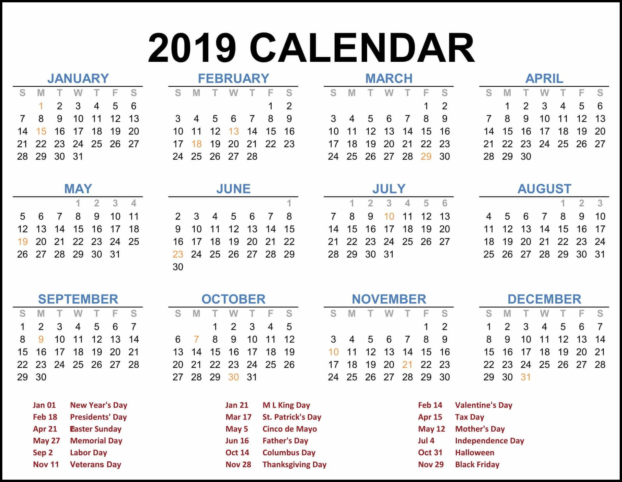 2019 Federal Holiday Calendar | 2019 Calendar Template In One Pages Calendar 2019 With Federal Holidays
