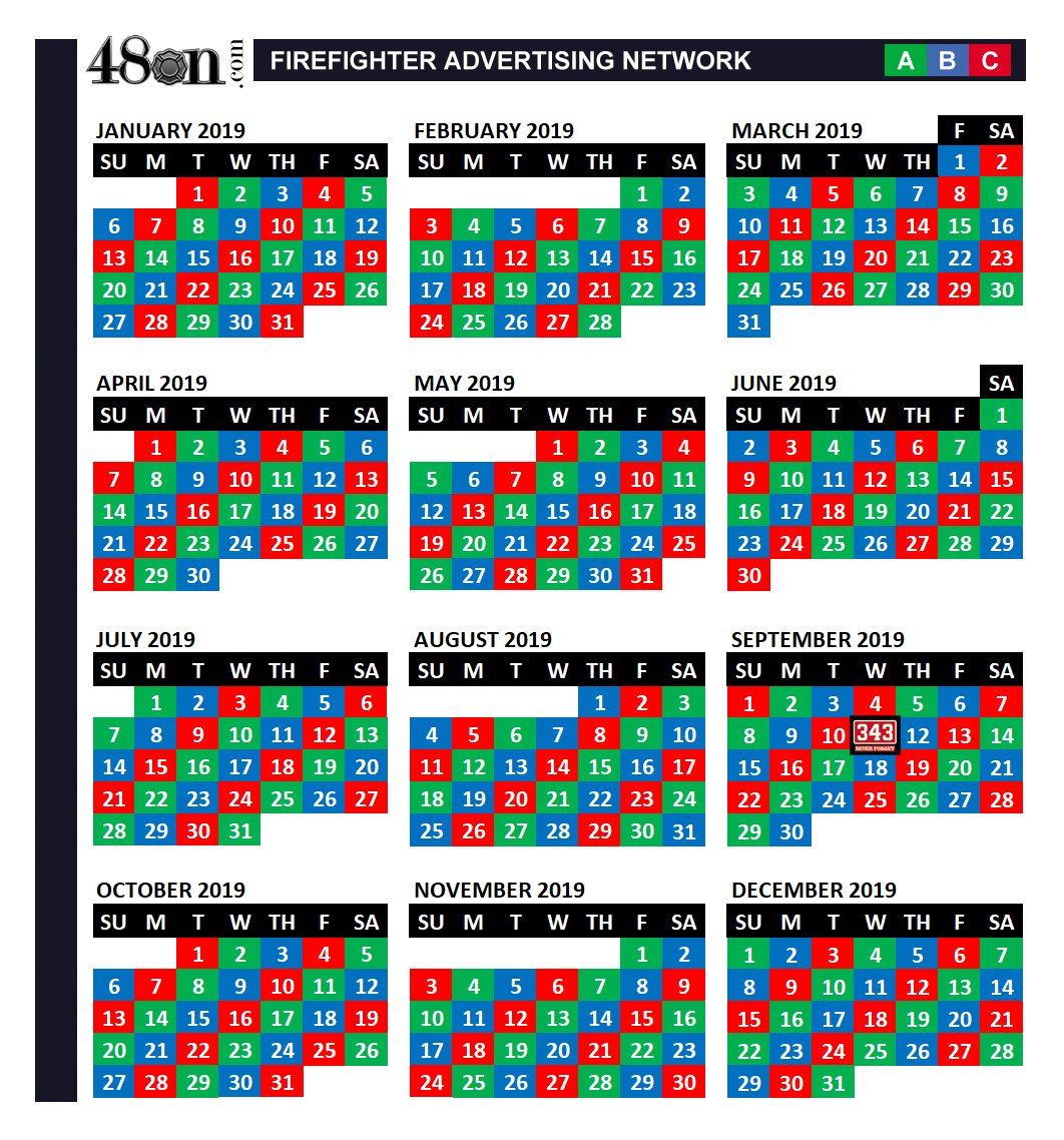 2019 Firefighter Shift Calendar – 48On – 48On B Shift Calendar 2019