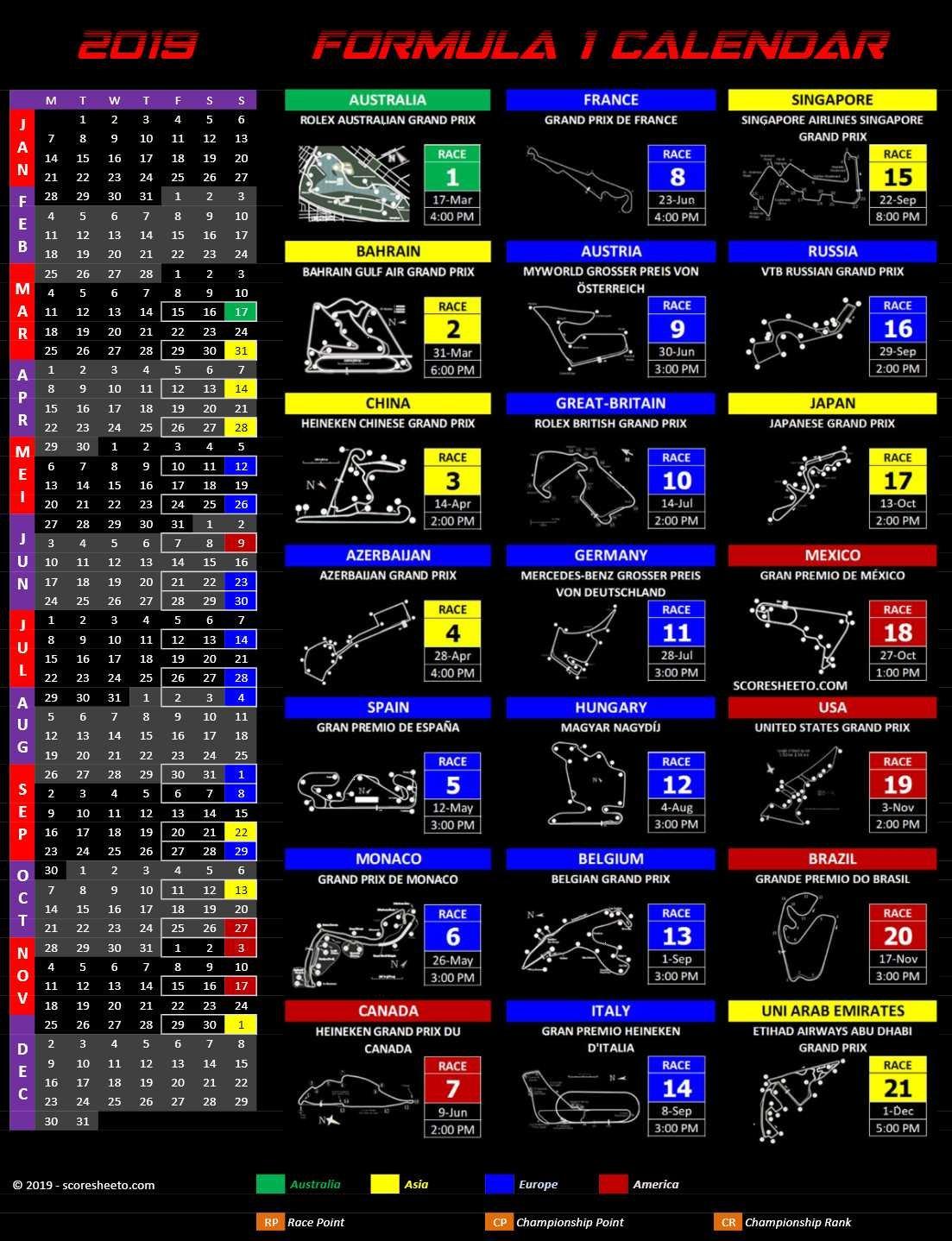 2019 Formula 1 Calendar – Excel Calendars Formula 1 Calendar 2019 Dates
