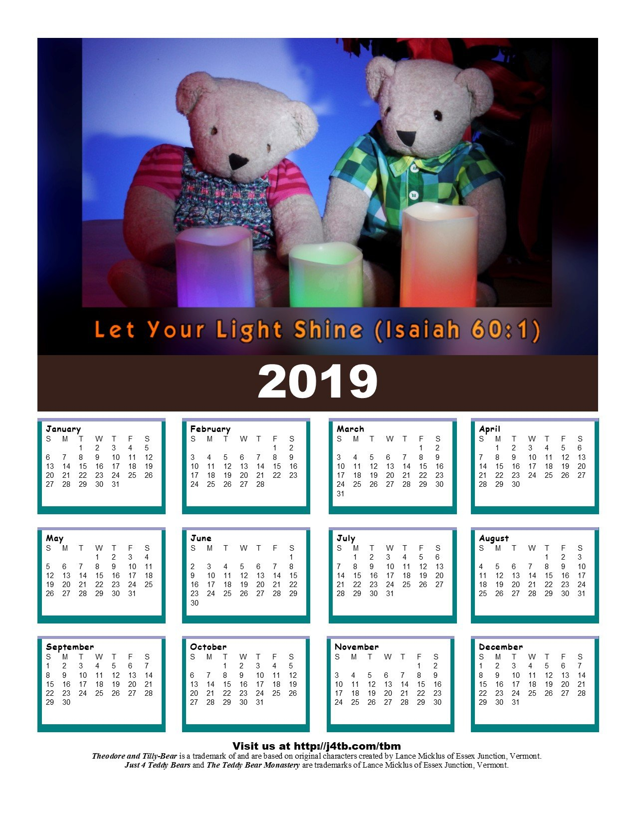 2019 Free Printable And Pocket Calendars Calendar 2019 Vt