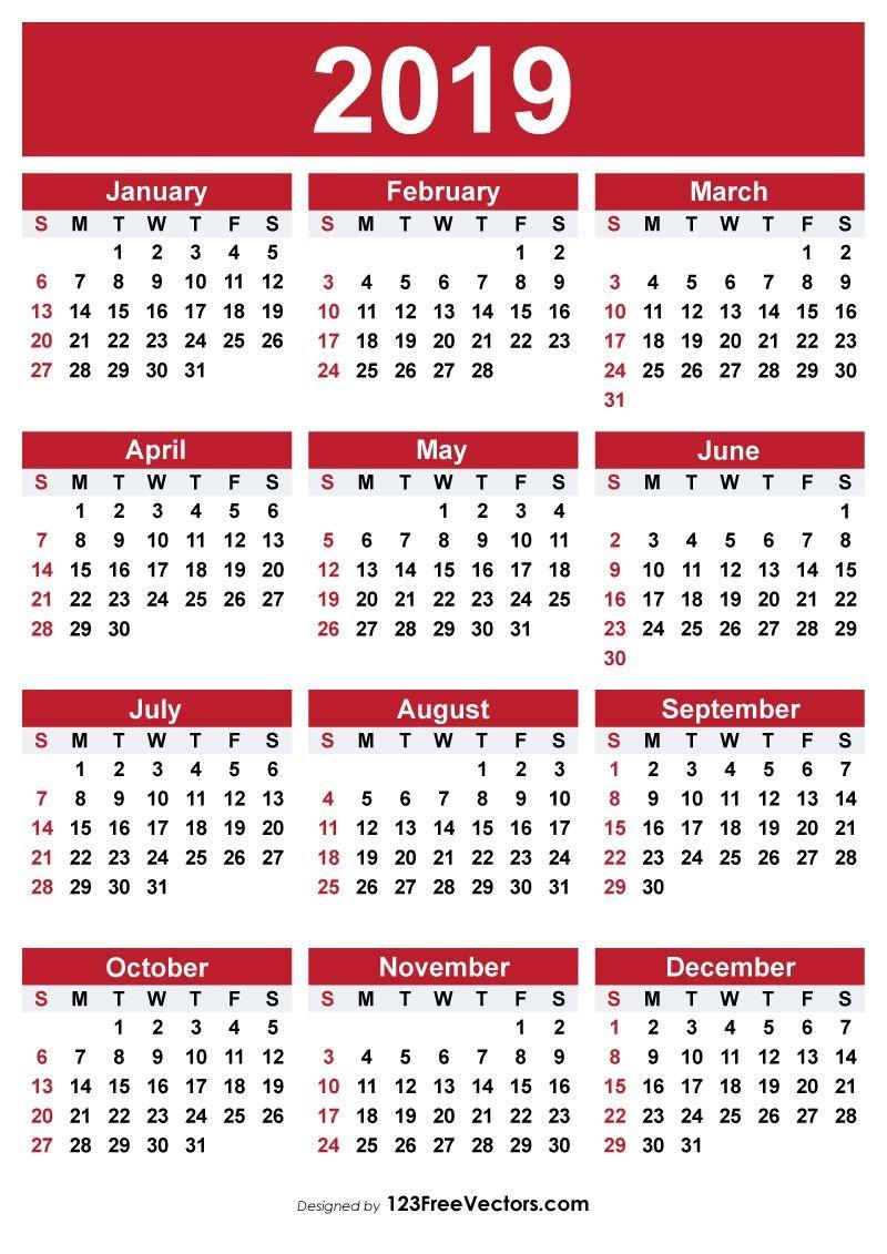 2019 Free Printable Calendar | 2019 Calendar | Free Printable Calendar 2019 Vector