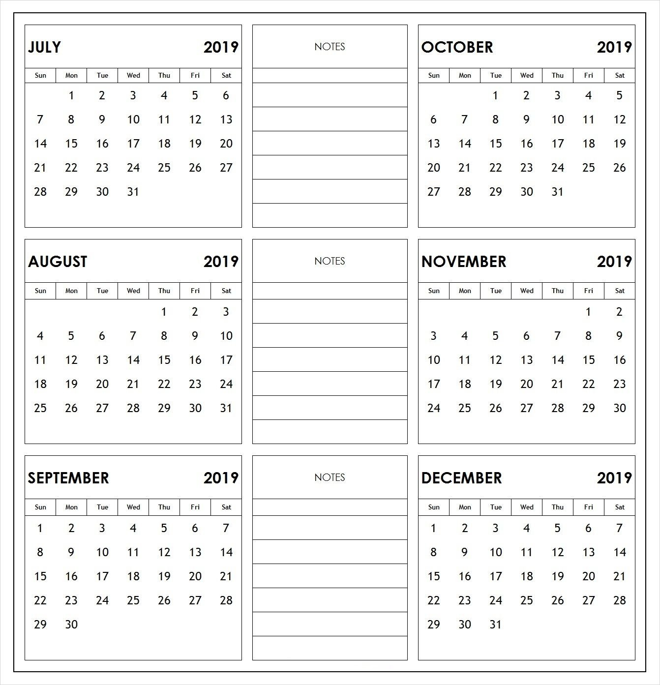 2019 Half Year Print Calendar | 2019 Calendars | Academic Calendar January 6 2019 Calendar