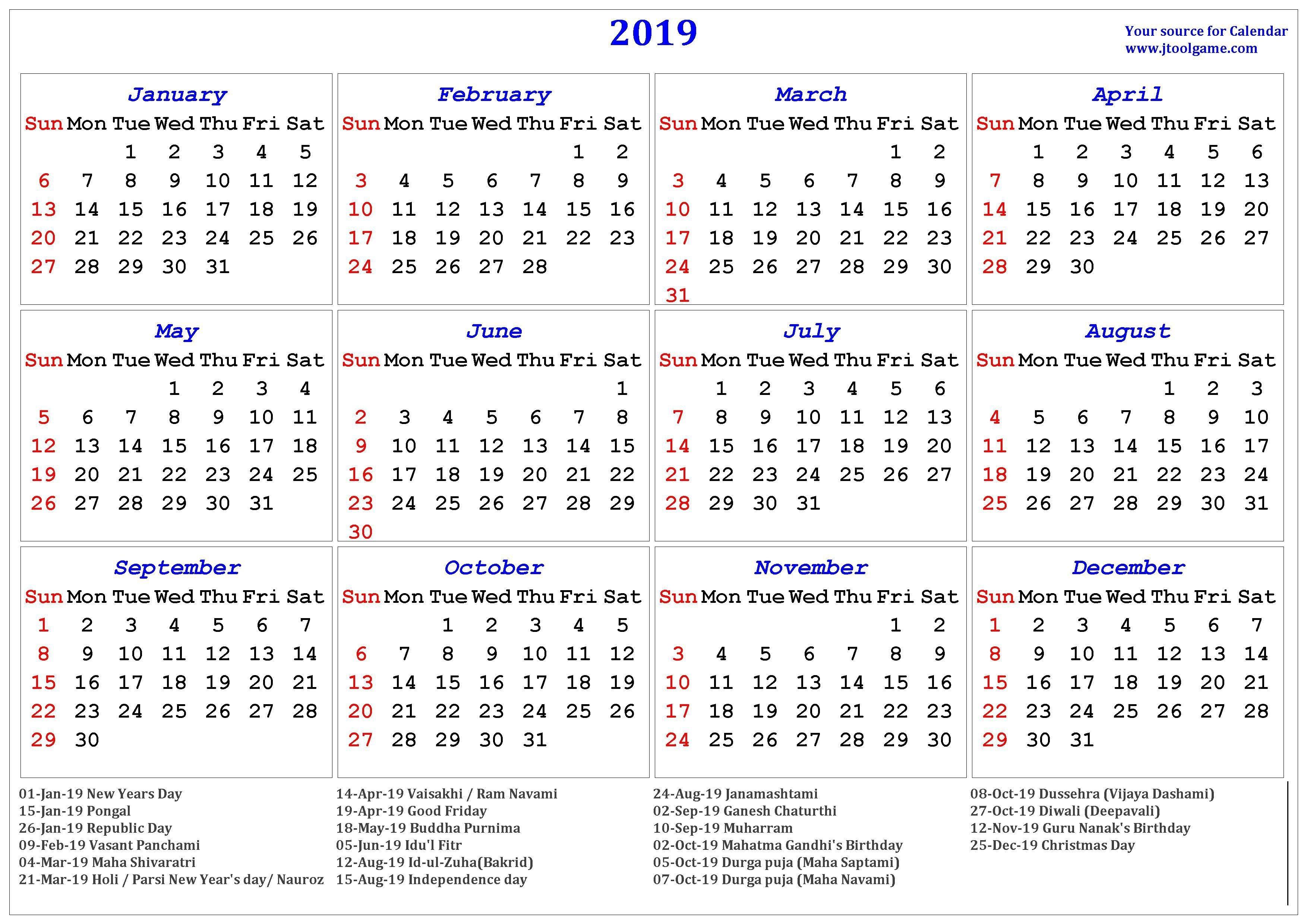 2019 Hindu Calendar With Tithi | Tyohar, Holidays, Festivals Calendar 2019 Hindu