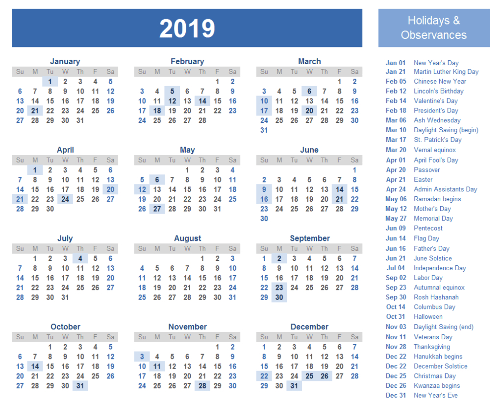 2019 International Holiday Calendar List | 2019 Holiday Calendar Calendar 2019 List
