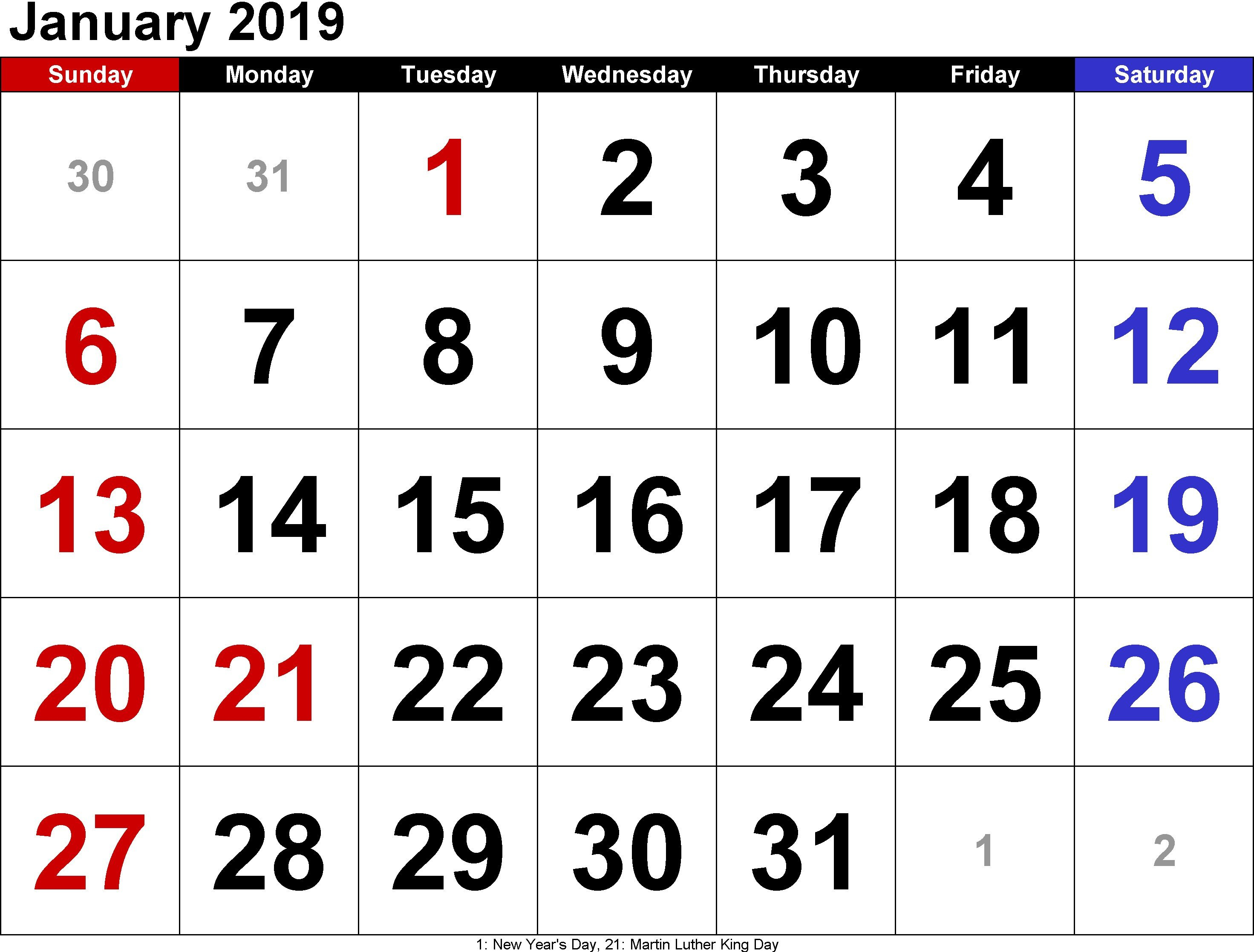2019 January Calendar With Holidays Archives - Free March 2019 January 6 2019 Calendar