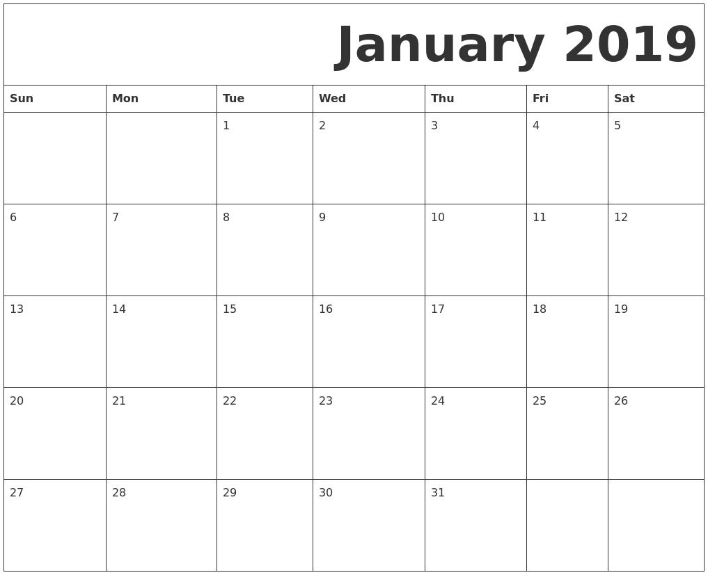 2019 January Printable Calendar Pdf - Free Printable Calendar, Blank Calendar 2019 January Pdf