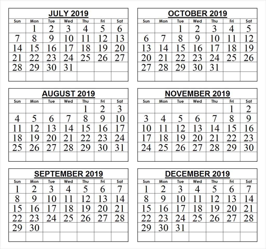 2019 Last 6 Months Calendar | 2019 Calendars | Calendar Wallpaper 6 Month Calendar 2019