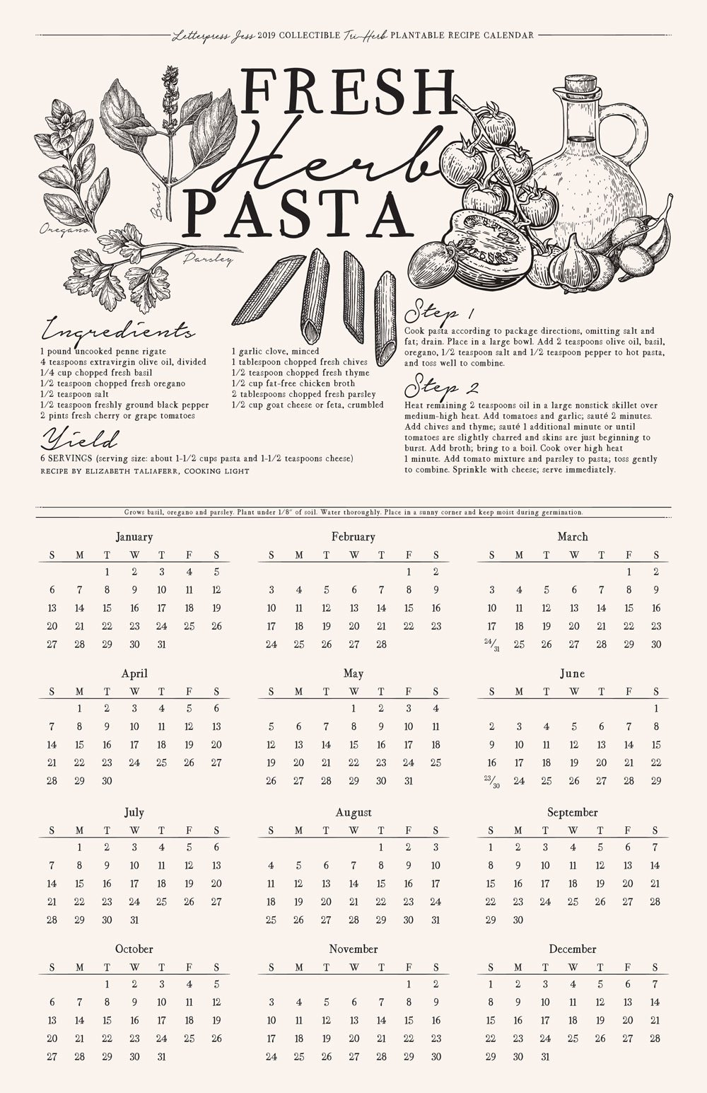 2019 Letterpress Pasta Recipe Plantable Wall Calendar | Letterpress Jess Calendar 2019 For Wall
