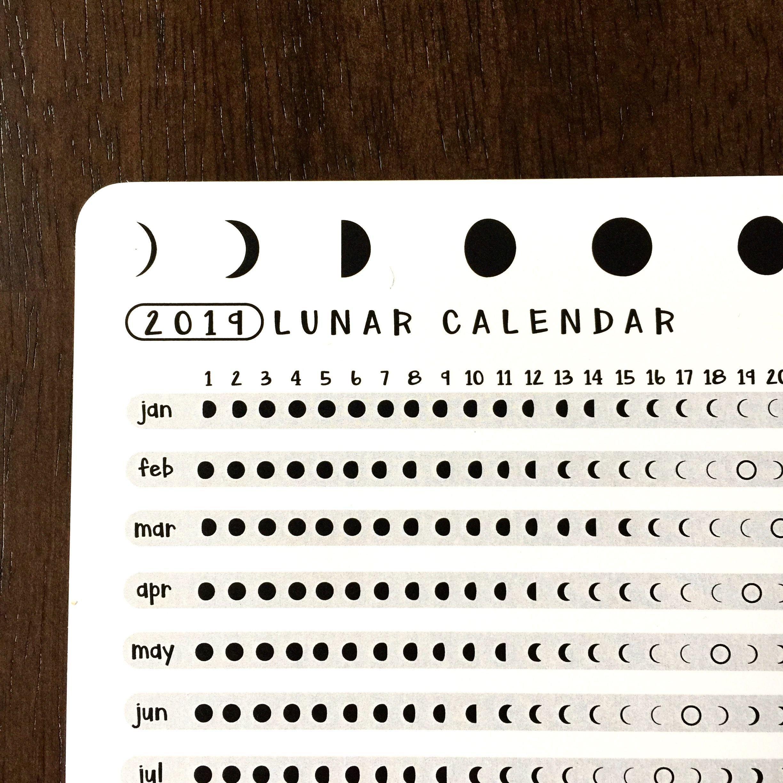 2019 Lunar Calendar Astrology Card   Bullet Journal Gift Ideas Calendar 2019 Lunar