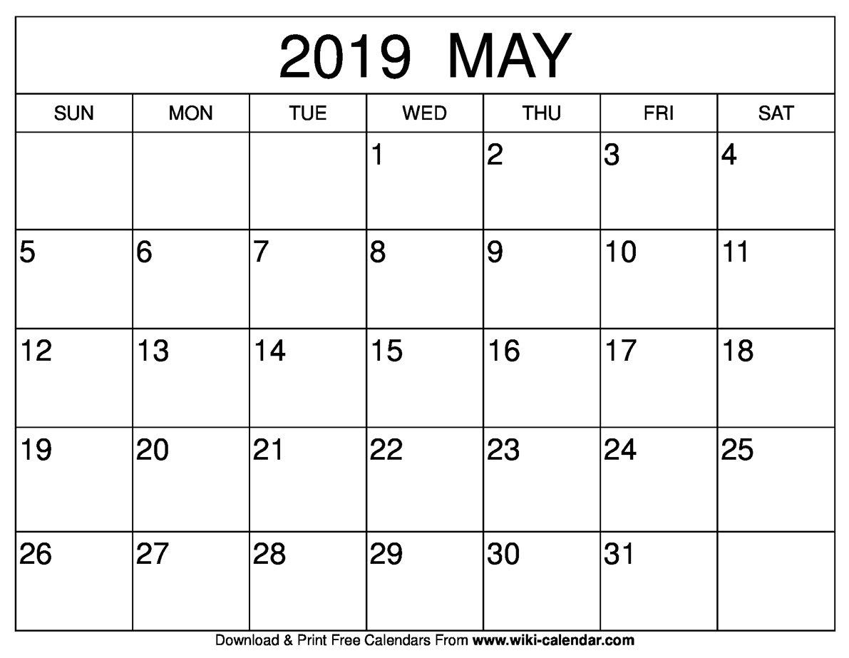 2019 May Calendar - Printable Calendar 2019| Blank Calendar 2019 May 4 2019 Calendar