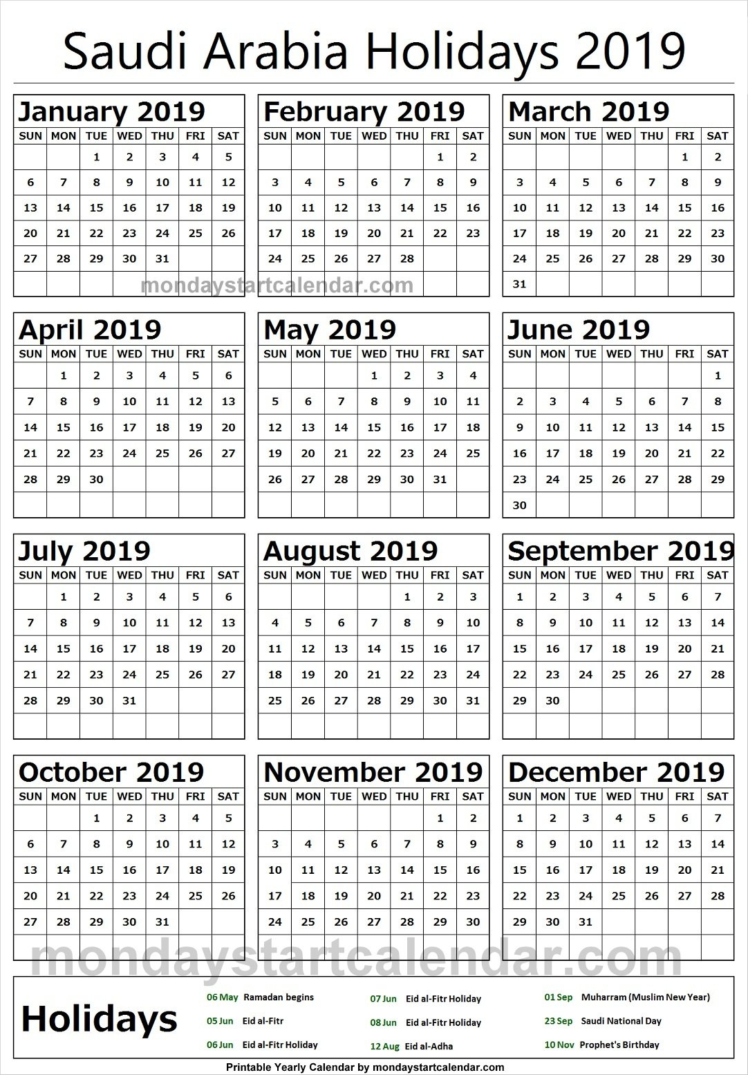 2019 National Holidays Saudi Arabia Calendar | 2019 Calendar Calendar 2019 Ksa