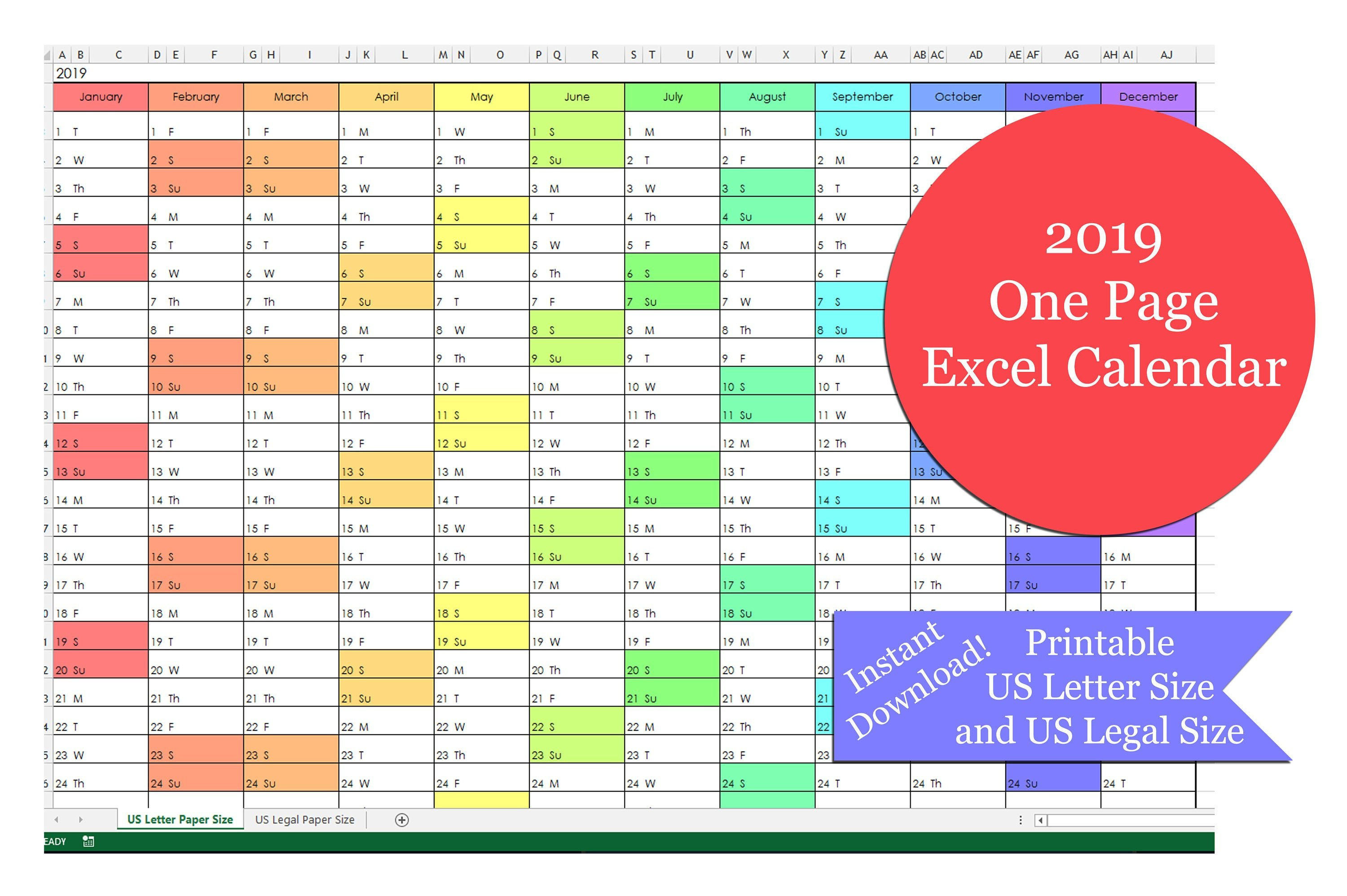 2019 One Page Excel Calendar | Printable 2019 Yearly Calendar | 2019  Calendar | Excel Calendar | Us Letter Size | Us Legal Size Calendar 2019 Excel Pakistan