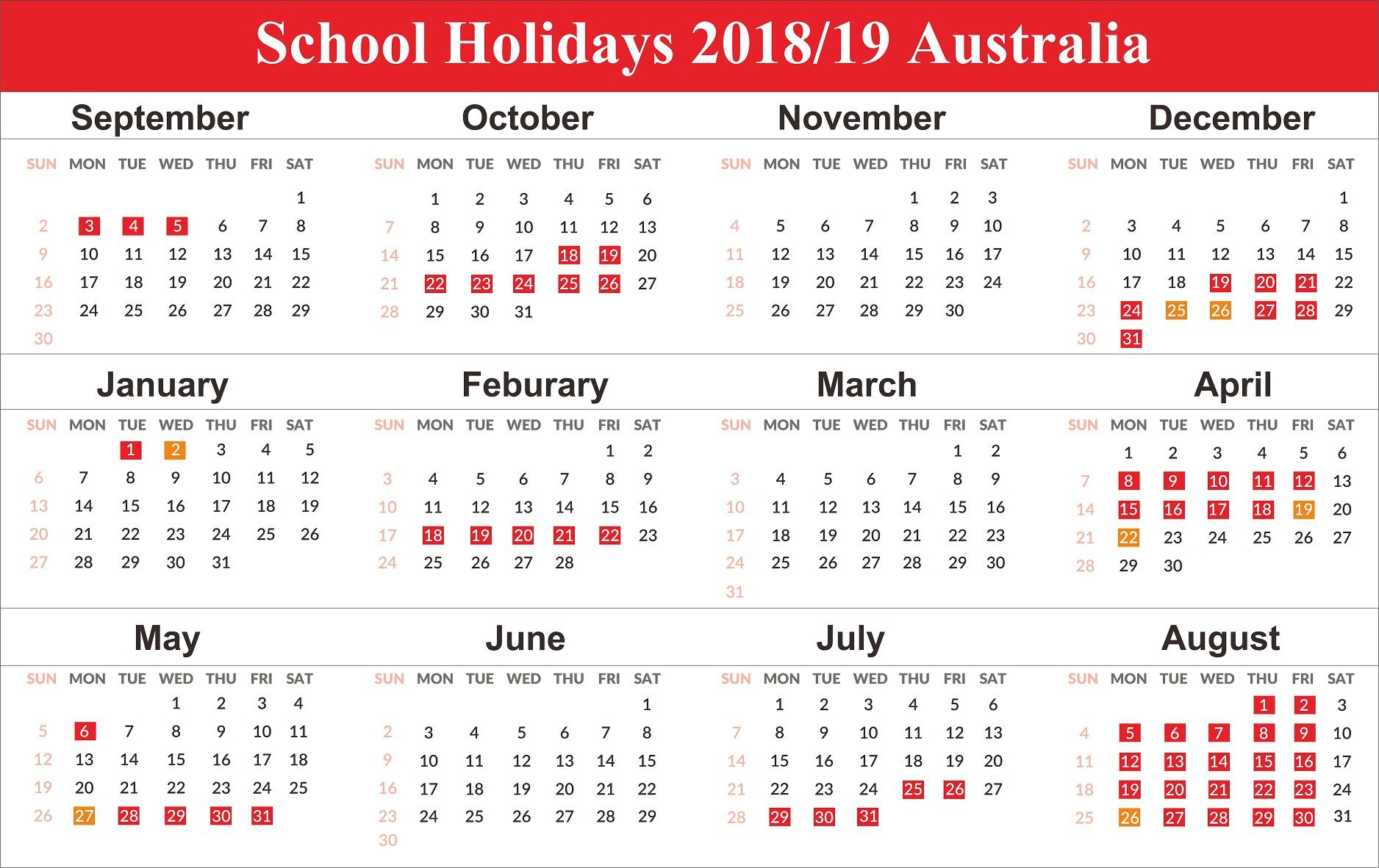 2019 Printable Calendar Australia Free Australia School Holidays Calendar 2019 Australia