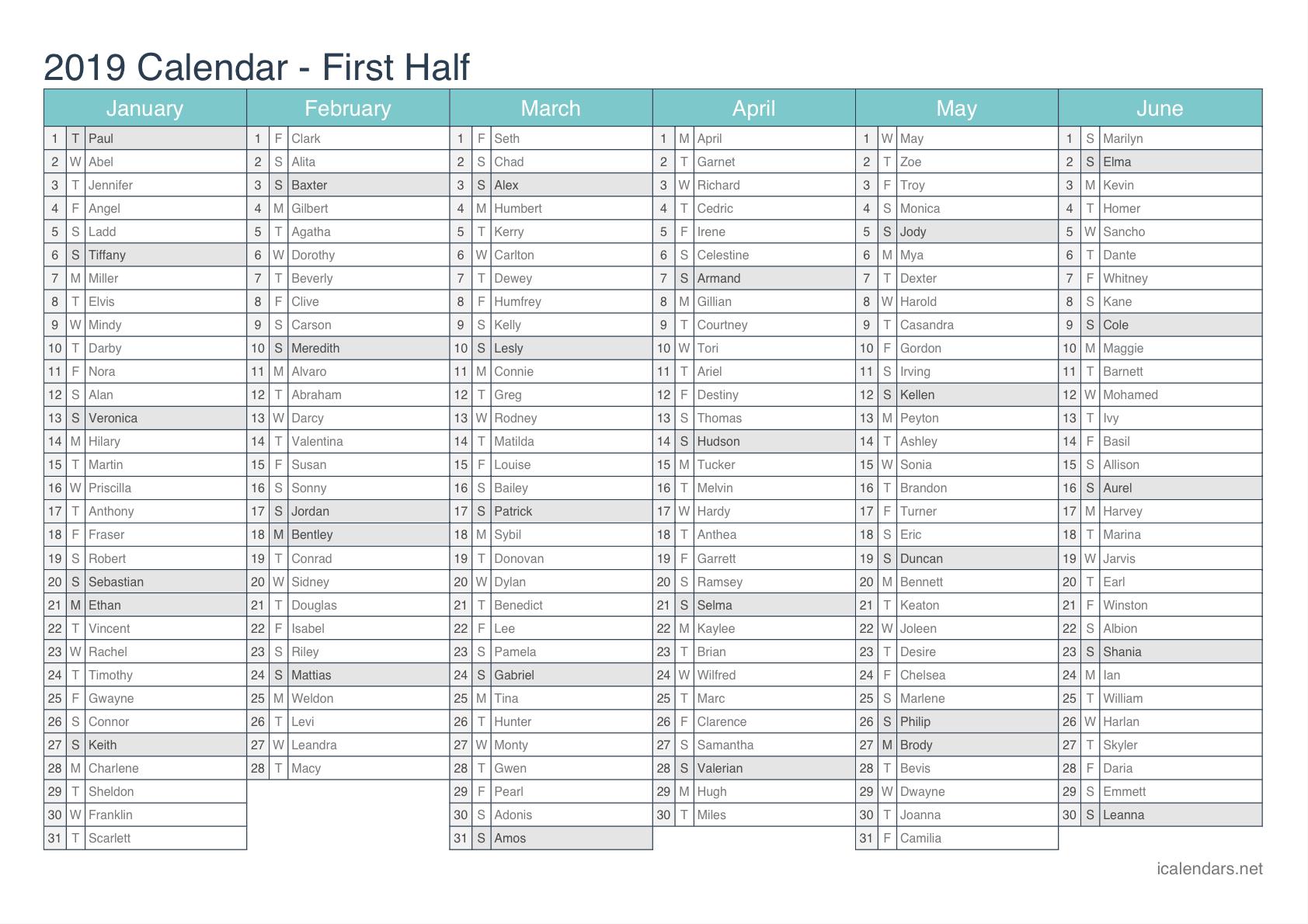 2019 Printable Calendar - Pdf Or Excel - Icalendars Calendar 2019 Year Excel