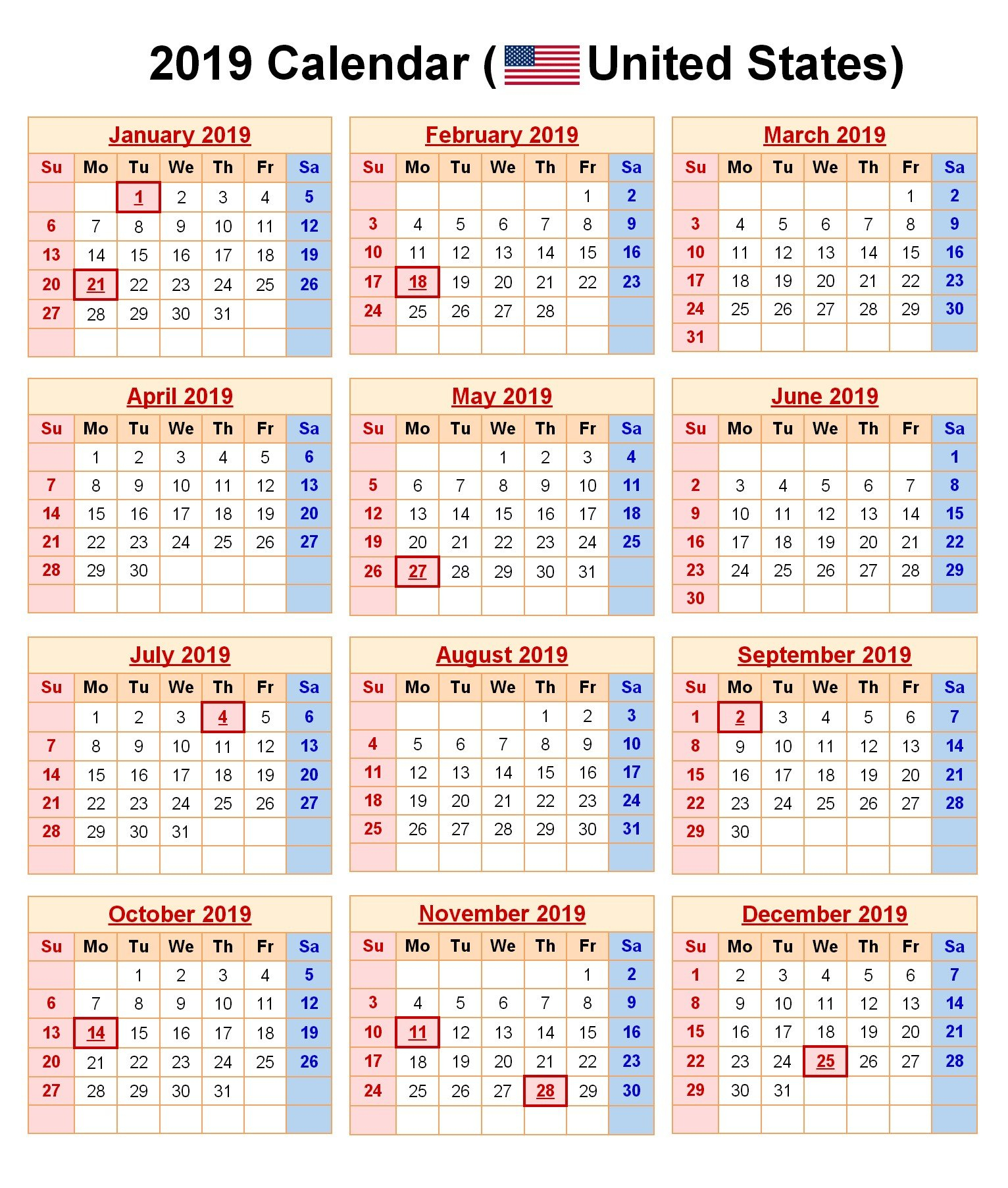 2019 Printable Calendar With Us Holidays Printable Calendar 2019 Calendar 2019 With Holidays Usa Printable