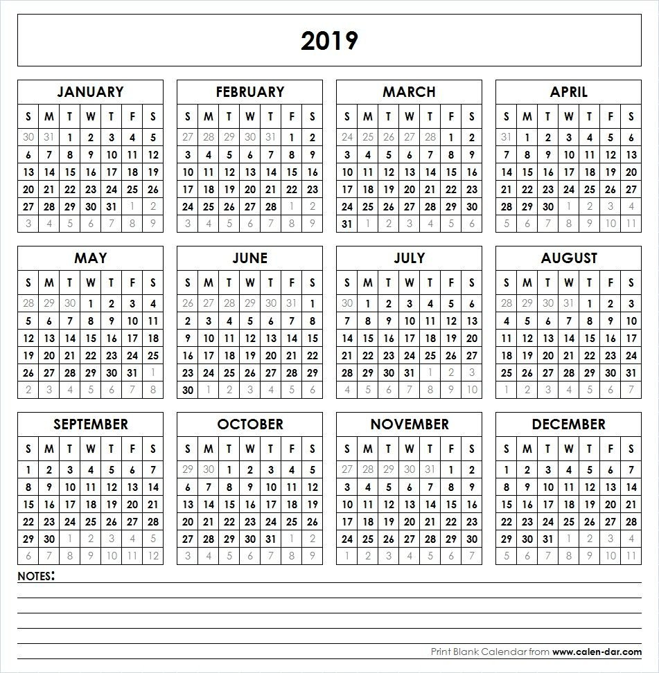 2019 Printable Calendar | Yearly Calendar | Printable Calendar Calendar 2019 Year Printable