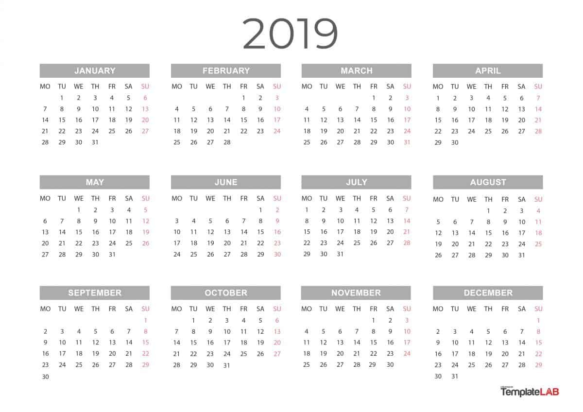 2019 Printable Calendars [Monthly, With Holidays, Yearly] ᐅ Calendar 2019 Full Year