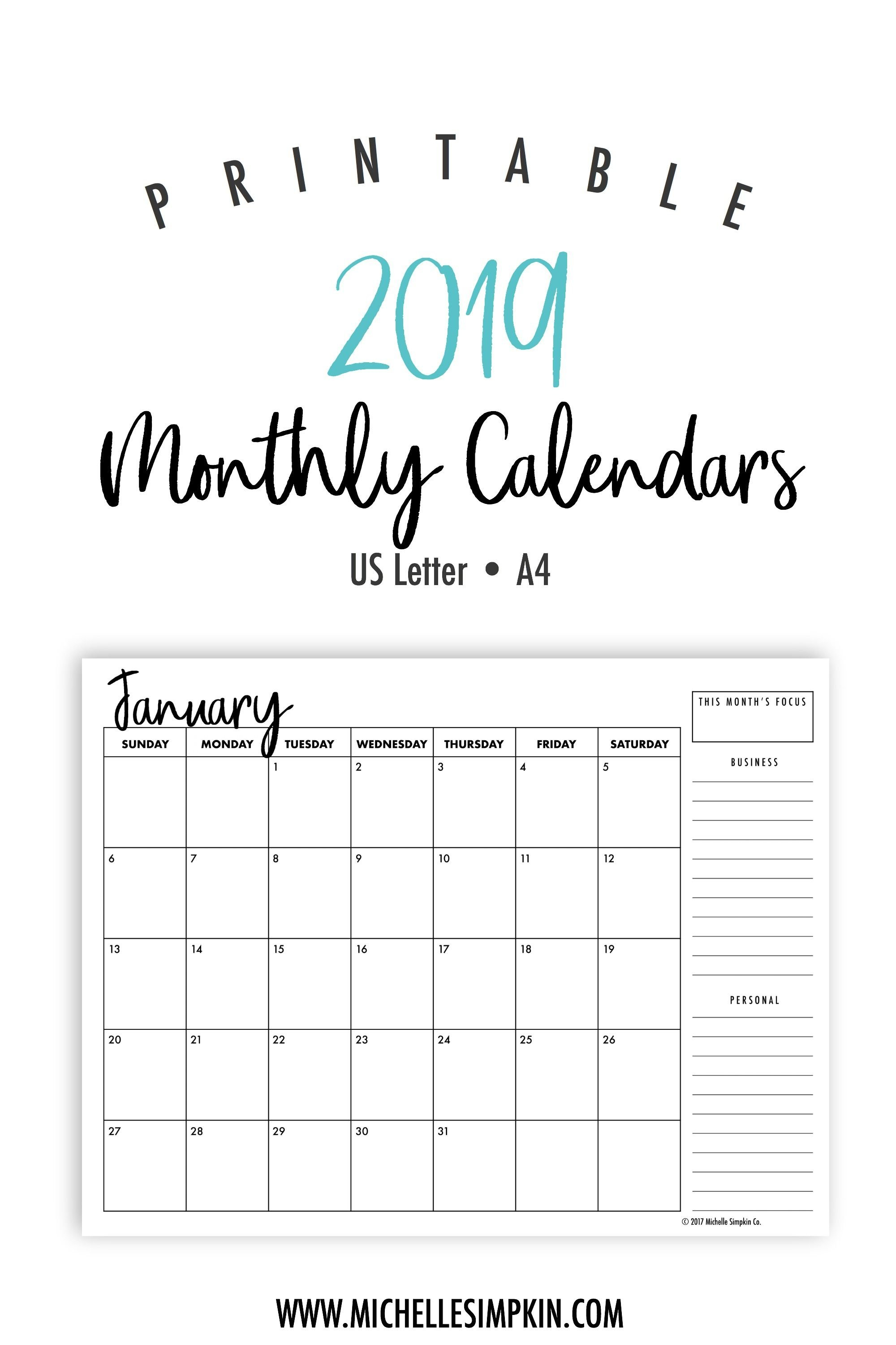 2019 Printable Monthly Calendars • Landscape • Us Letter • A4 Calendar 2019 Printable