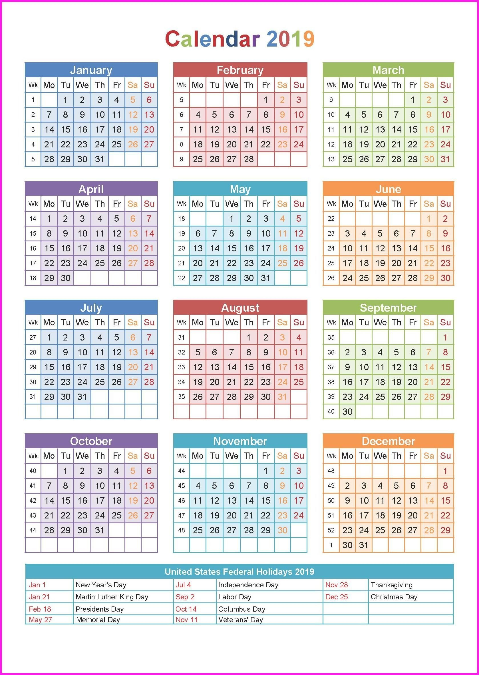 2019 Printable Yearly Calendar | Chjv | Yearly Calendar Template Calendar Of 2019 With Hindu Festival