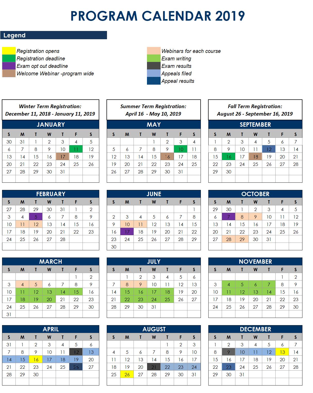 2019 Program Calendar | Cbv Institute Calendar 10/2019