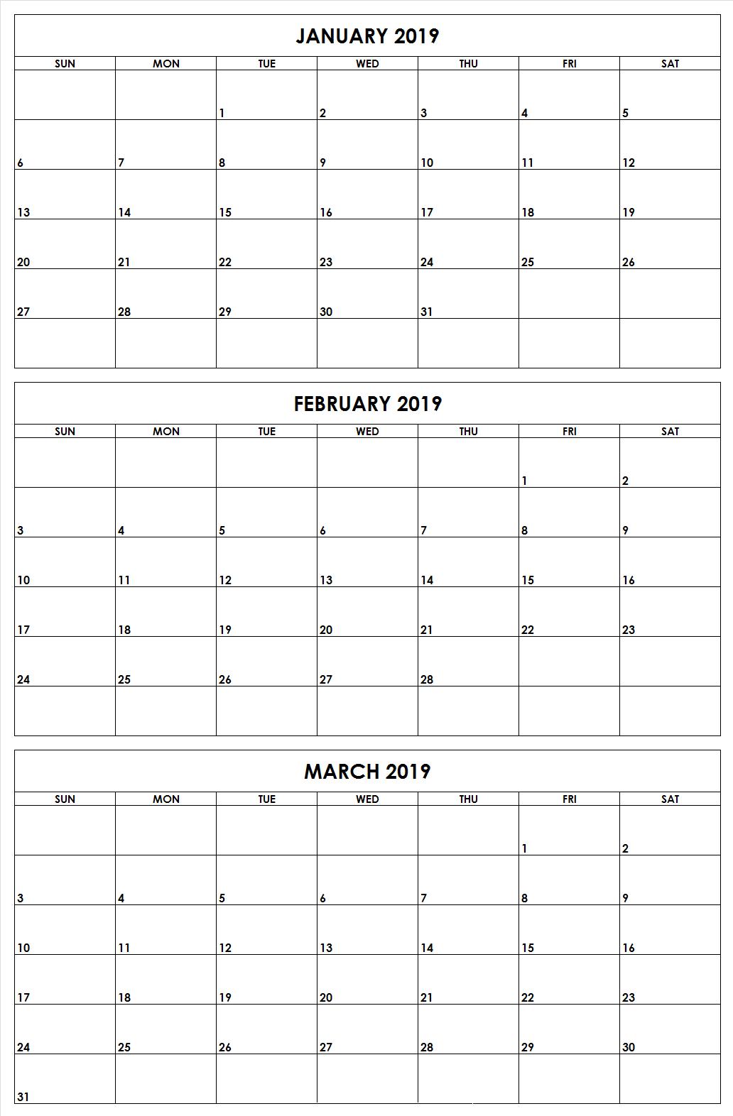 2019 Q1 Months Printable Calendar | 2019 Calendars | Printable Calendar Q1 2019