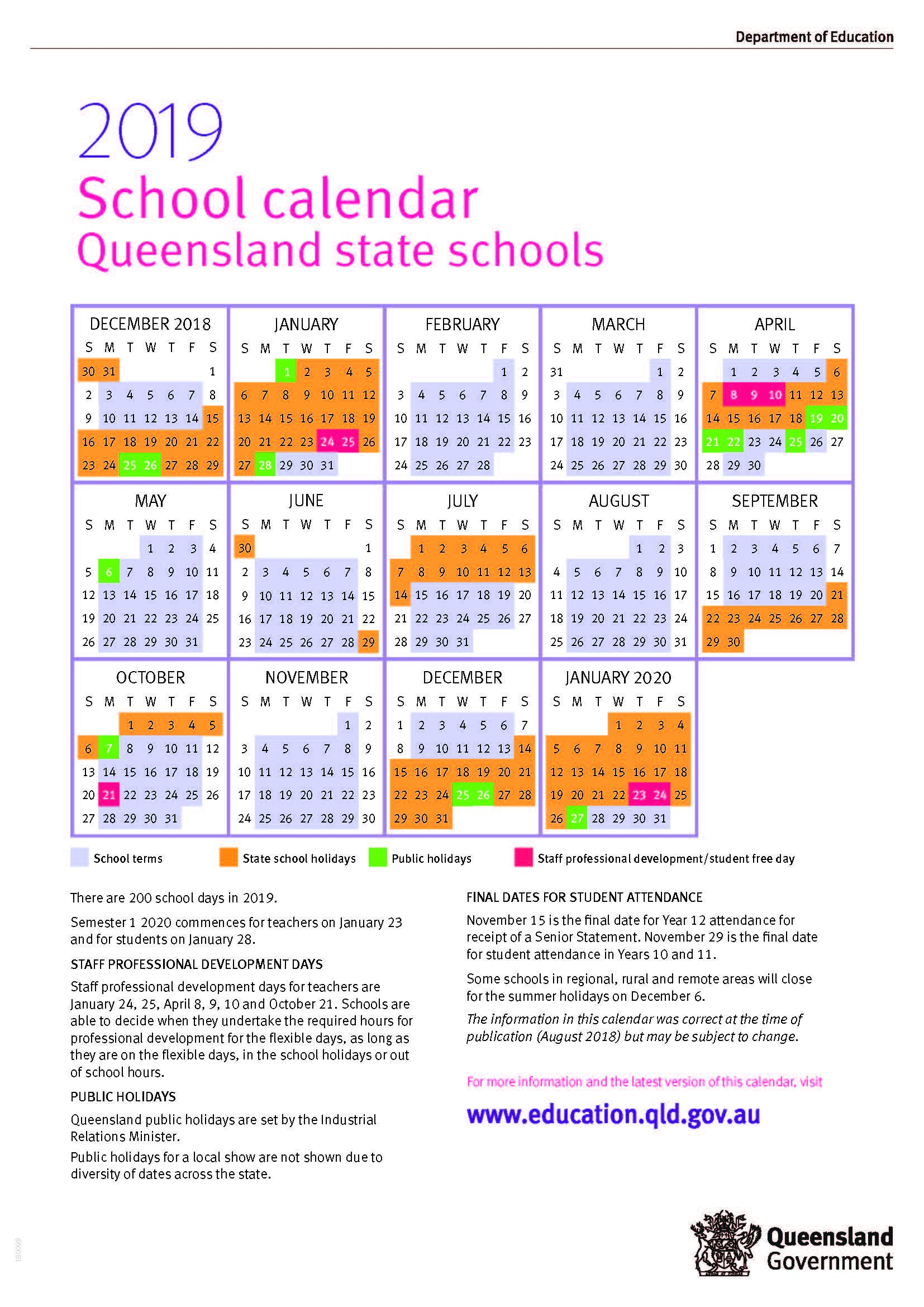 2019 Queensland State School Calendar 2019 Calendar Queensland State Schools
