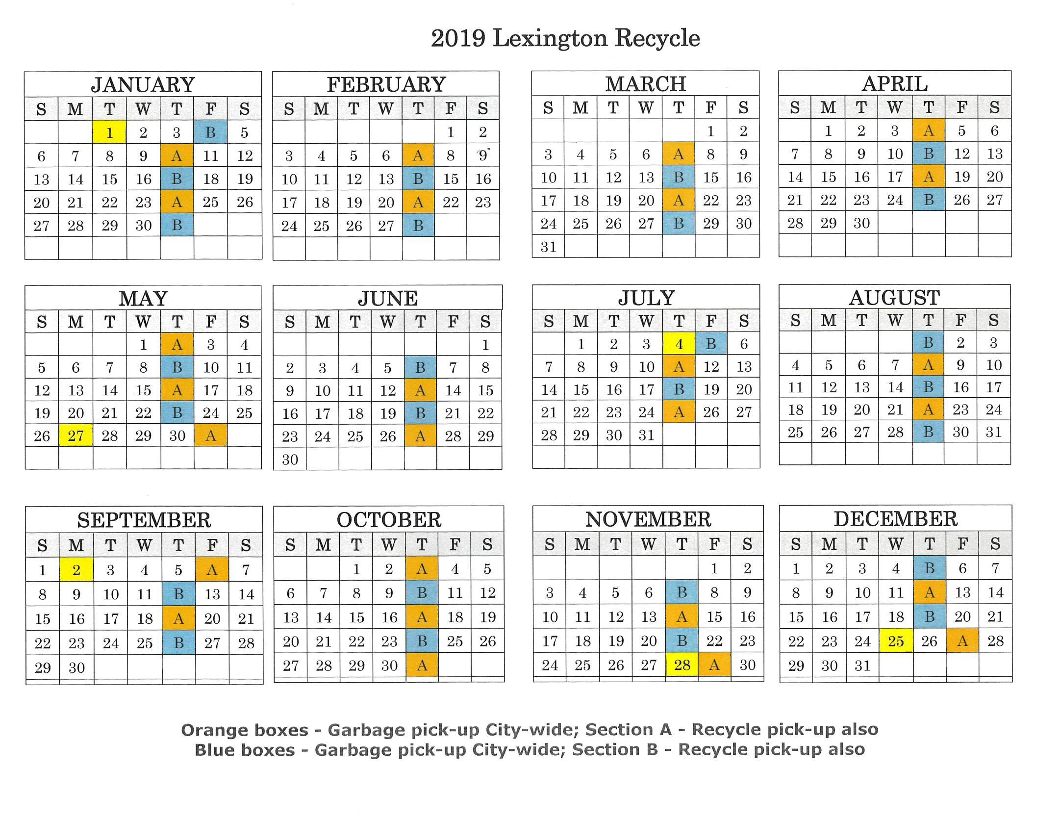 2019 Recycle Map & Calendar - City Of Lexington Lexington 1 Calendar 2019
