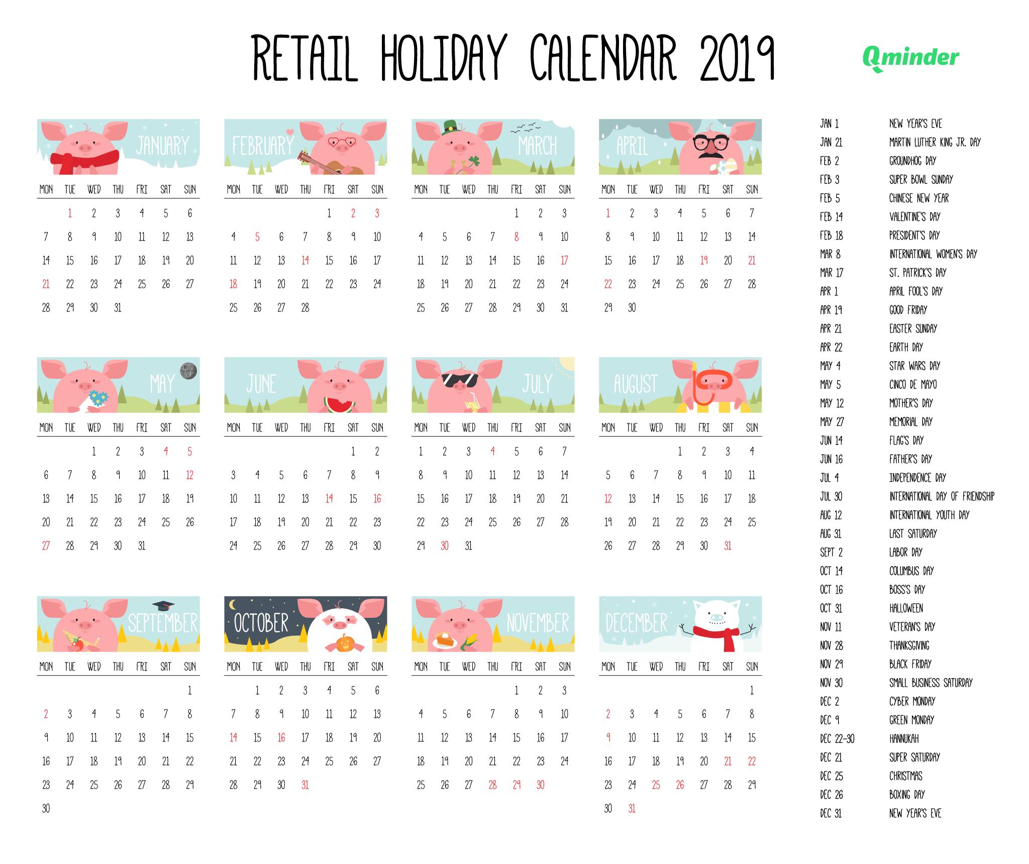2019 Retail Holiday Calendar | Qminder Calendar Of 2019 With Holidays