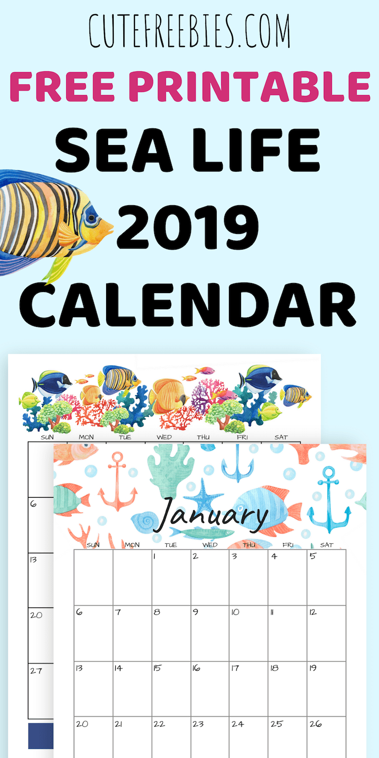 2019 Sea Themed Calendar Printables And More | - Free Printables Calendar 2019 Themes