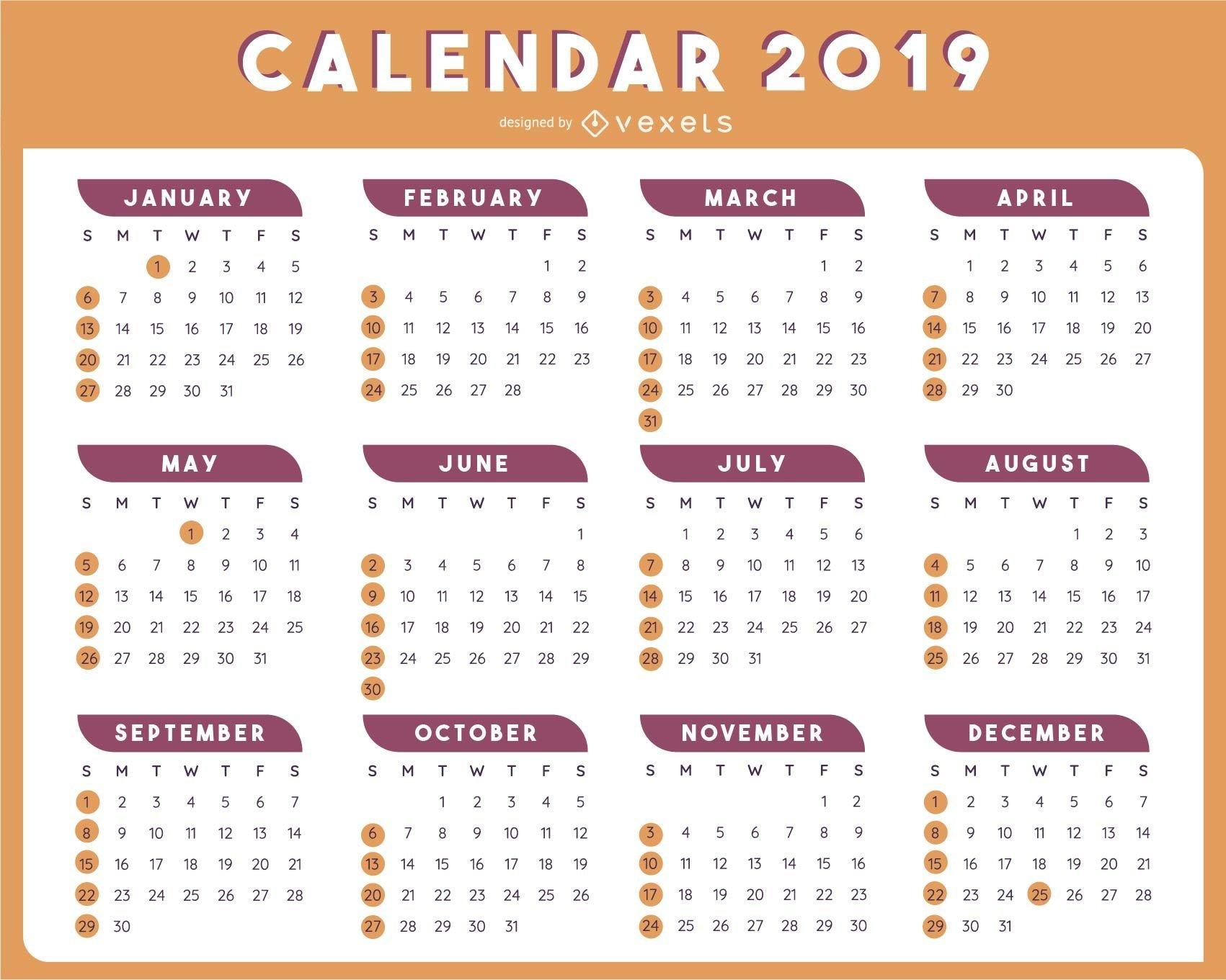 2019 Table Calendar Template Vector Design - Vector Download Calendar 2019 Table