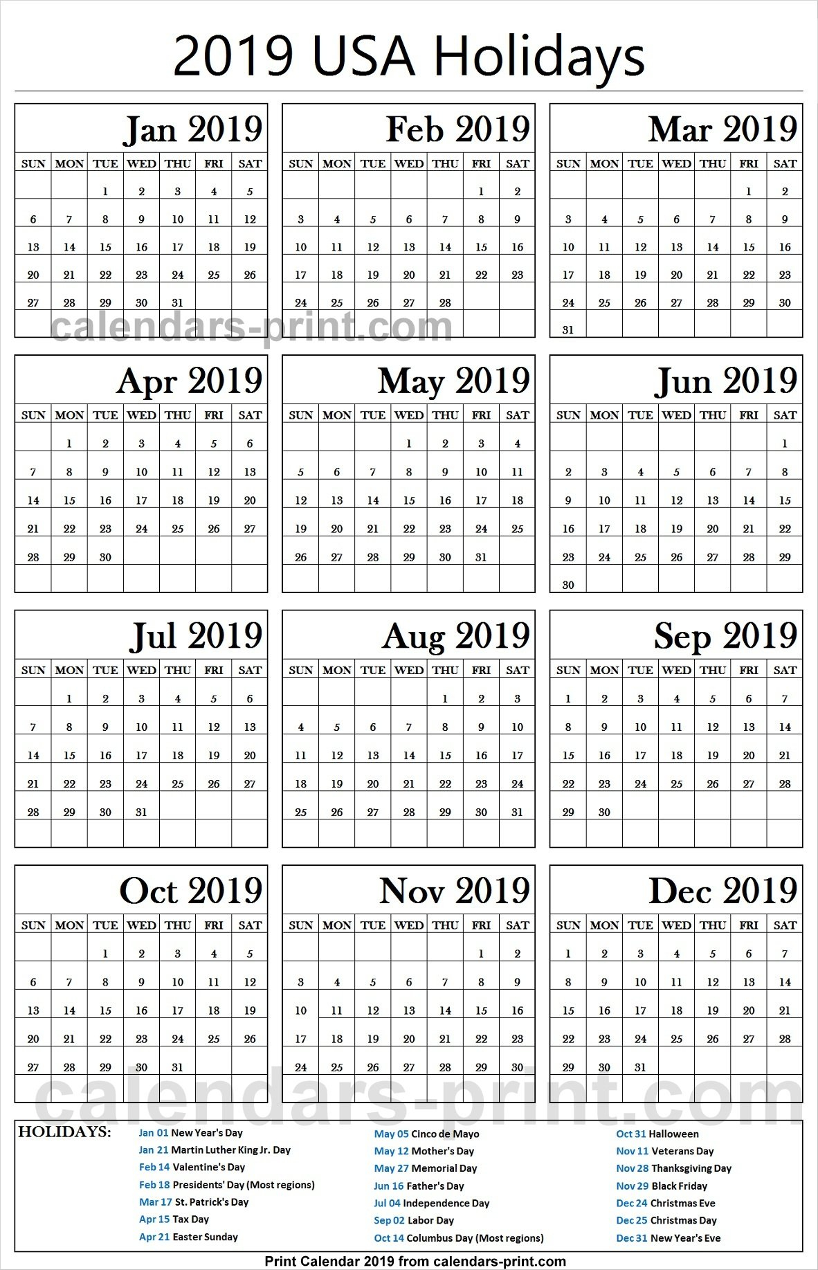 2019 Us Calendar With Federal Holidays | 2019 Usa Calendar Calendar 2019 With Federal Holidays